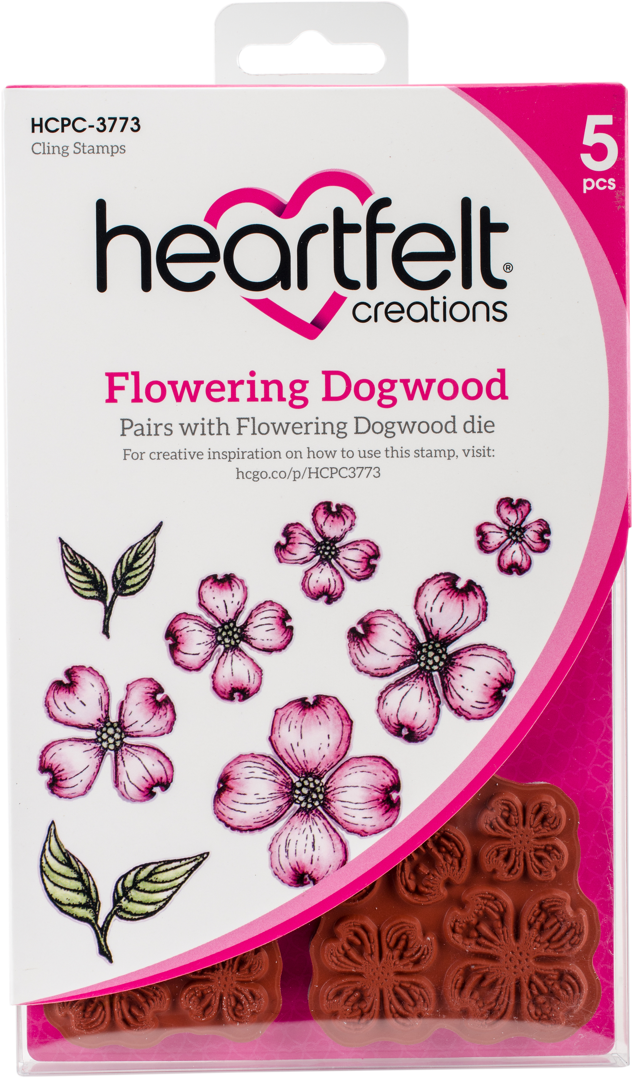 Heartfelt Creations Cling Rubber Stamp and die Set 5X6.5-Flowering Dogwood