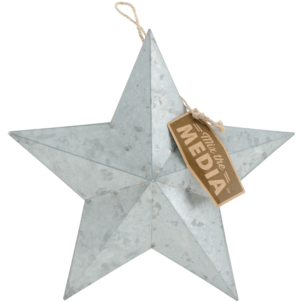 Jillibean Soup Mix The Media Galvanized Star-9.25 W/Jute Hanger