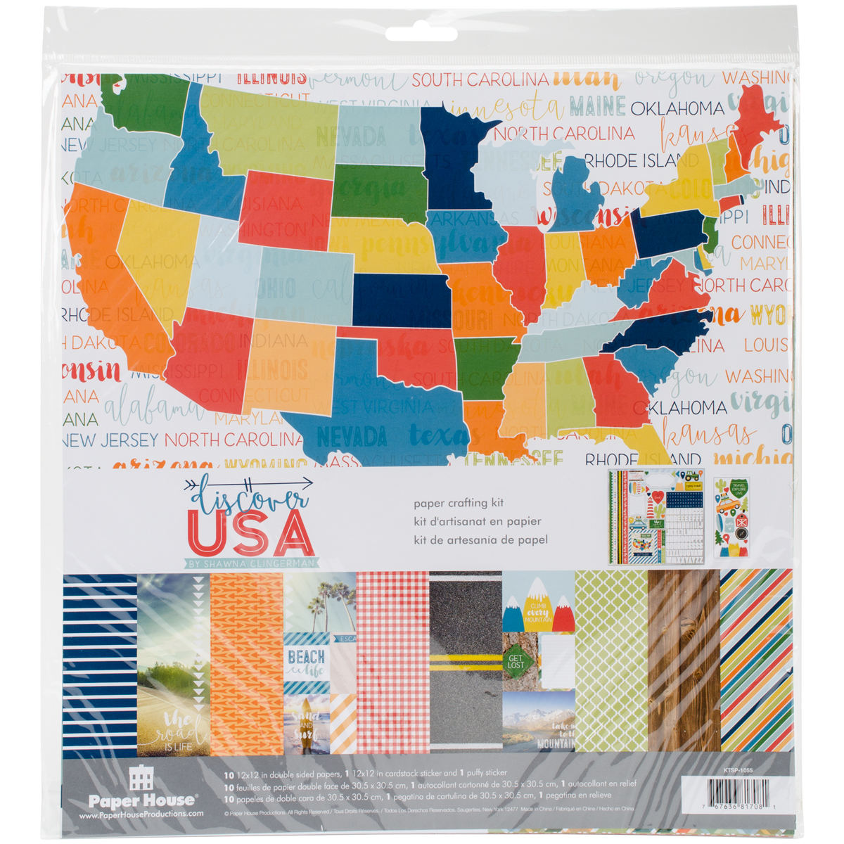 Paper House Paper Crafting Kit 12X12-Discover USA