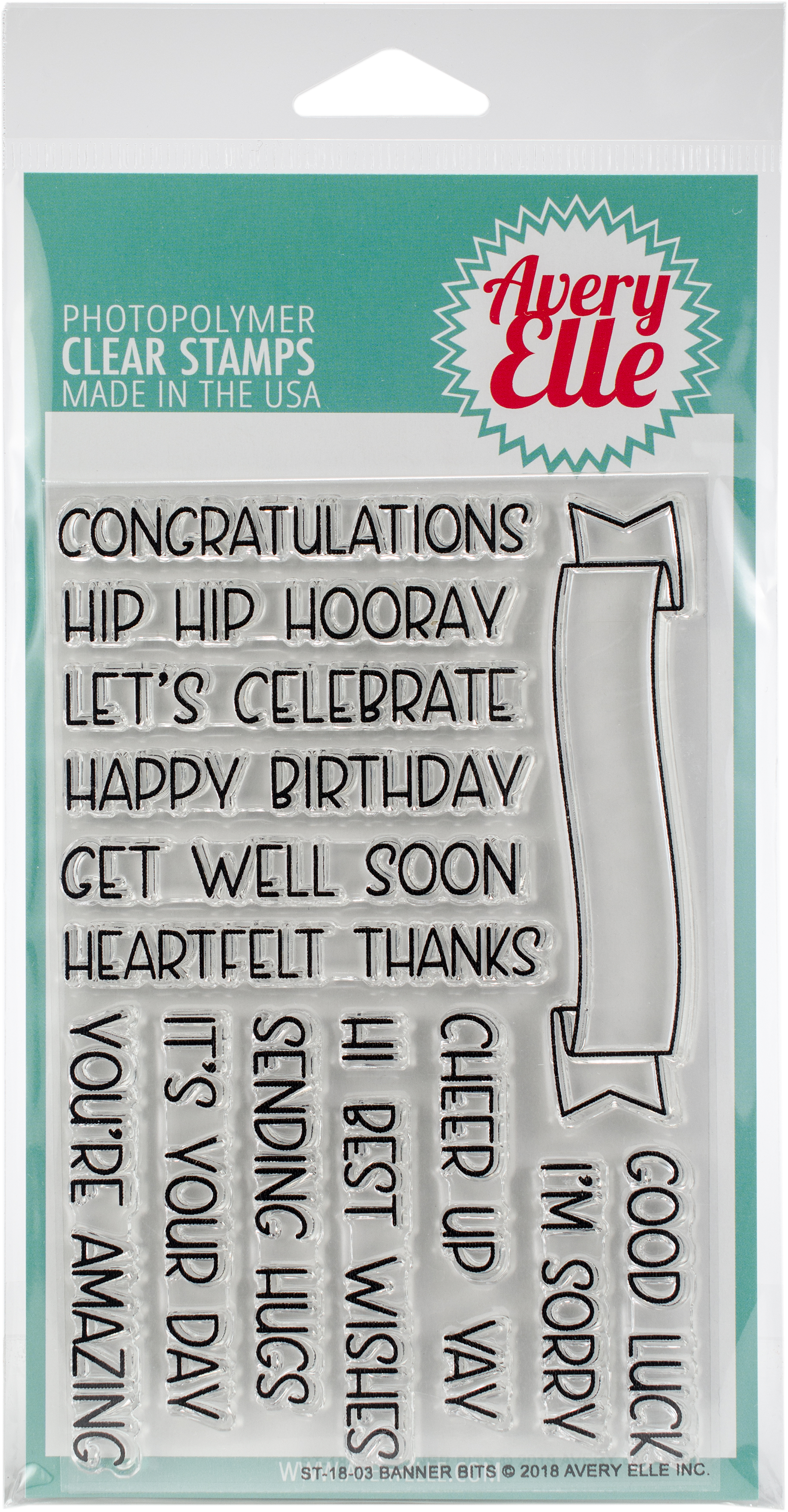 Avery Elle Clear Stamp Set - Banner Bits