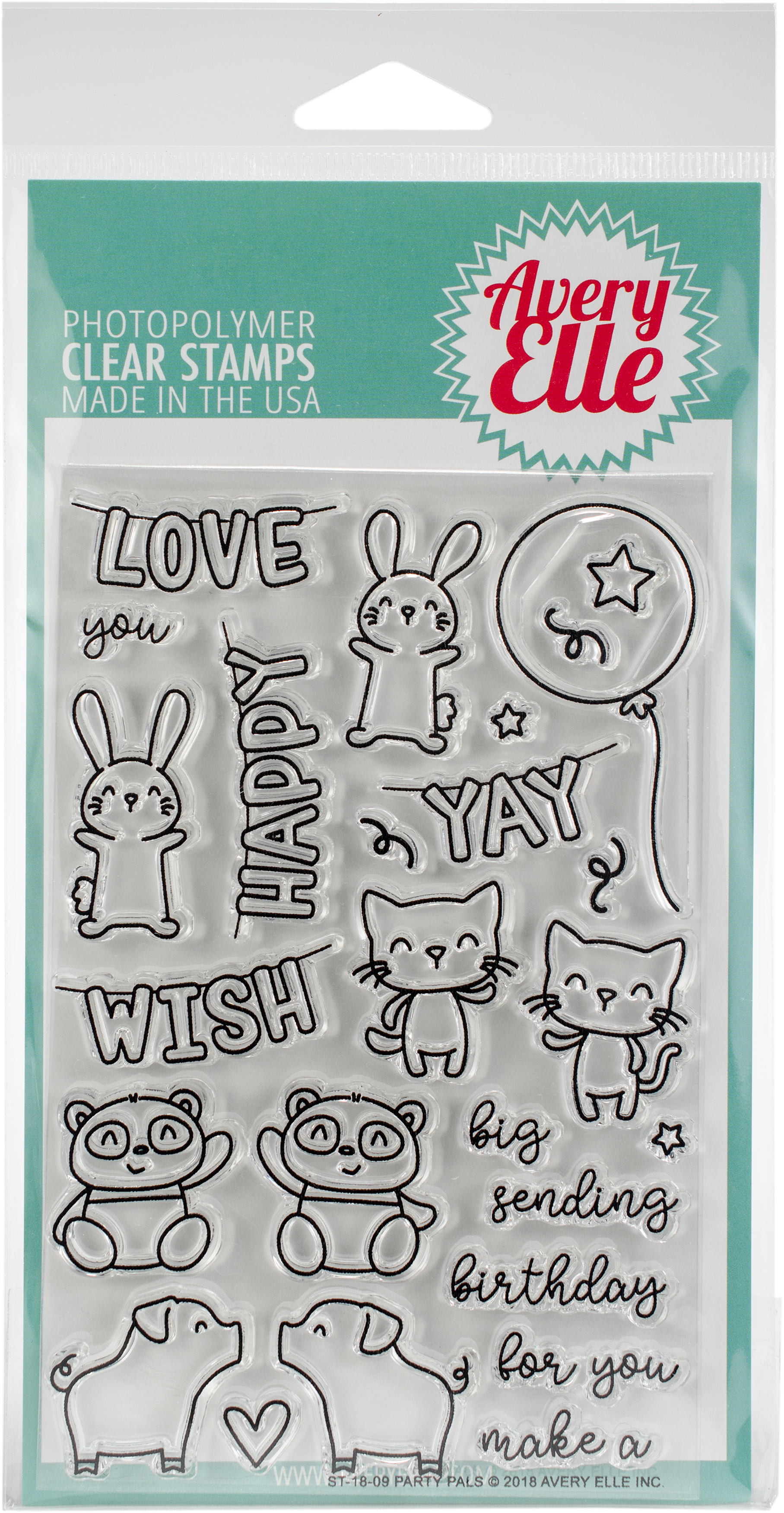 Avery Elle Clear Stamp Set 4X6-Party Pals