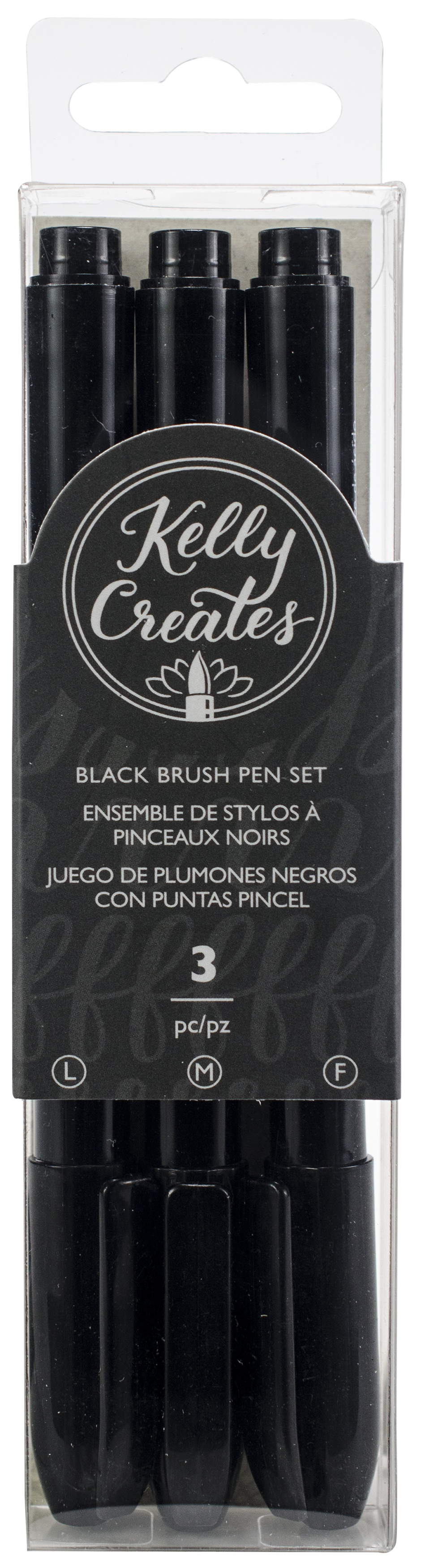 Kelly Creates Black Brush Pen Set 3/Pkg-Fine, Medium & Bold