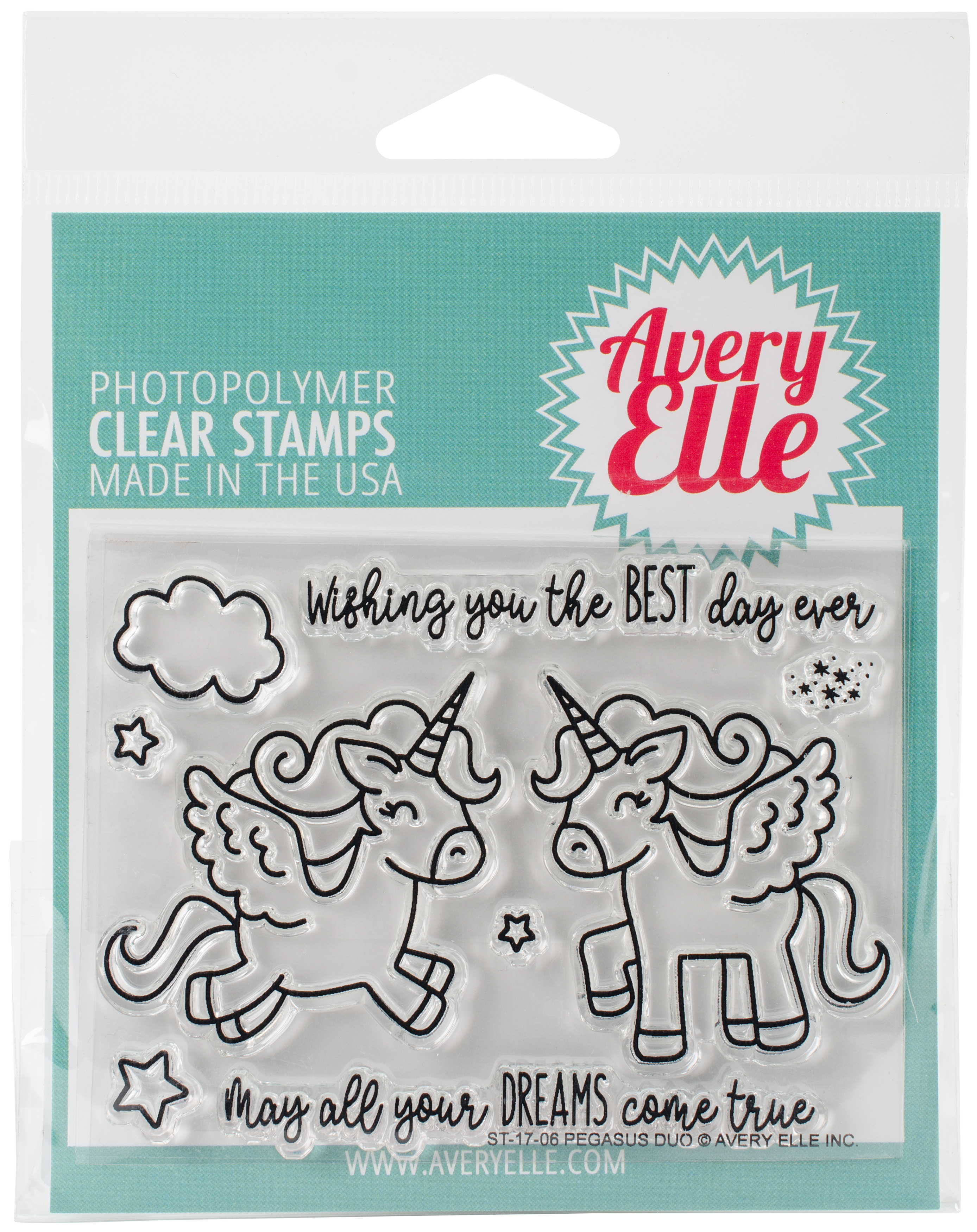 Avery Elle Clear Stamp Set 4X3-Pegasus Duo