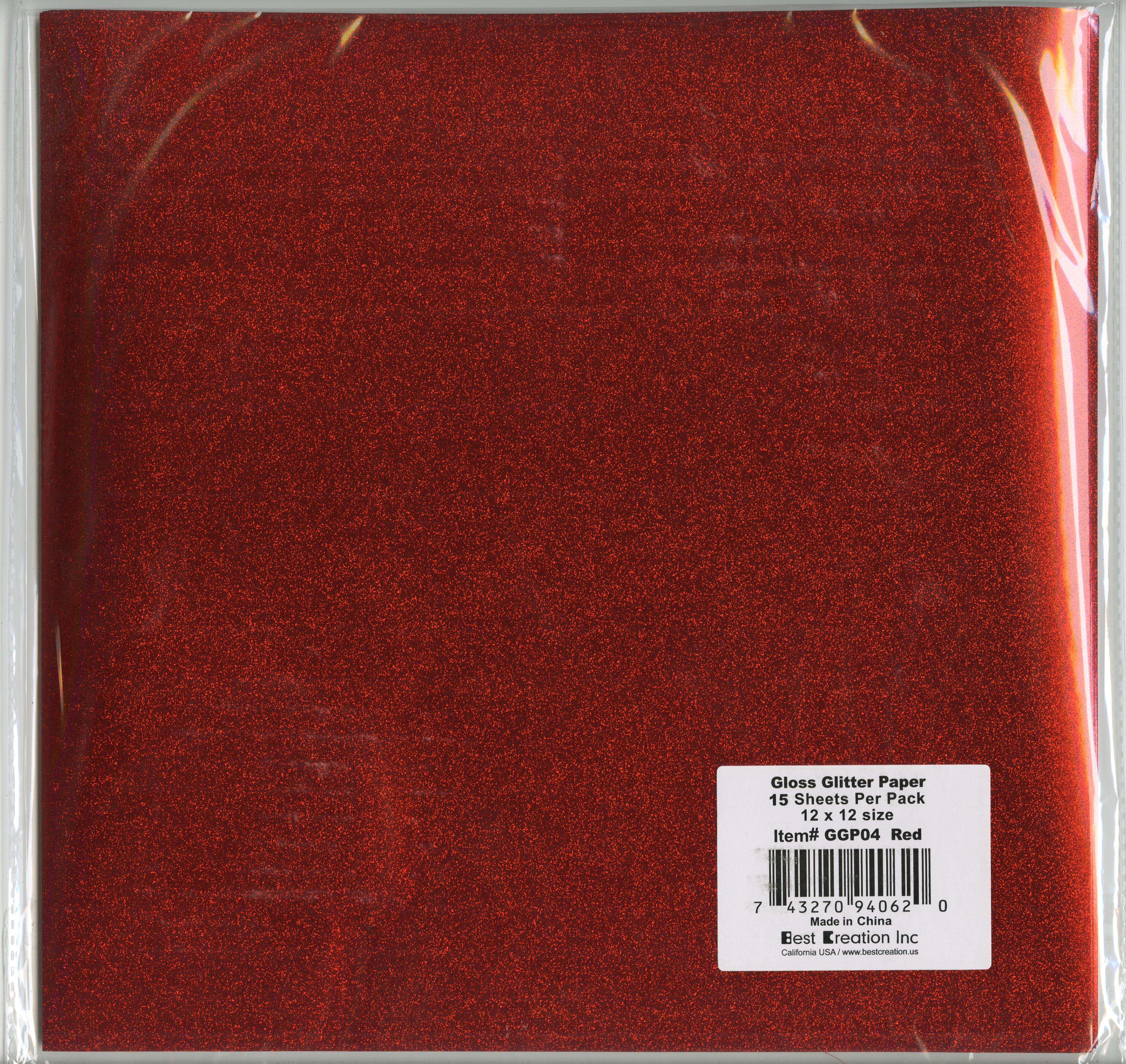 red gloss glitter paper