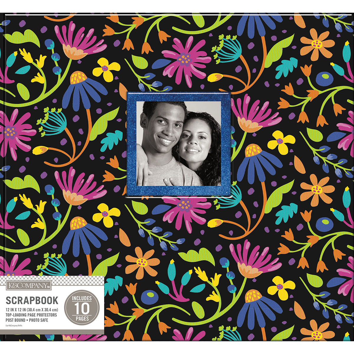 K&Company Post Bound Window Album 12X12-Black Floral W/Glitter