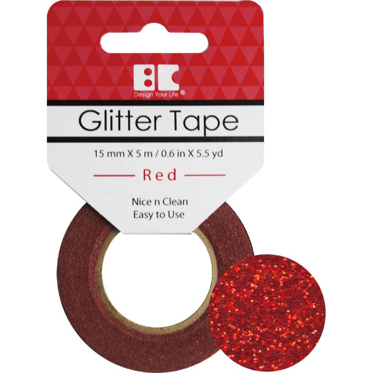 BC - Red Glitter Tape, 15mm x 5m