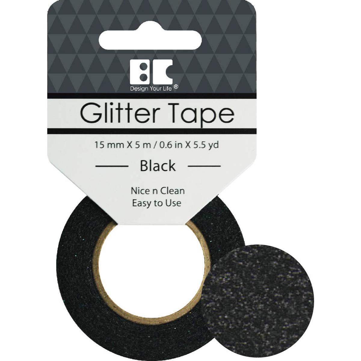 BC - Black Glitter Tape, 15mm x 5m