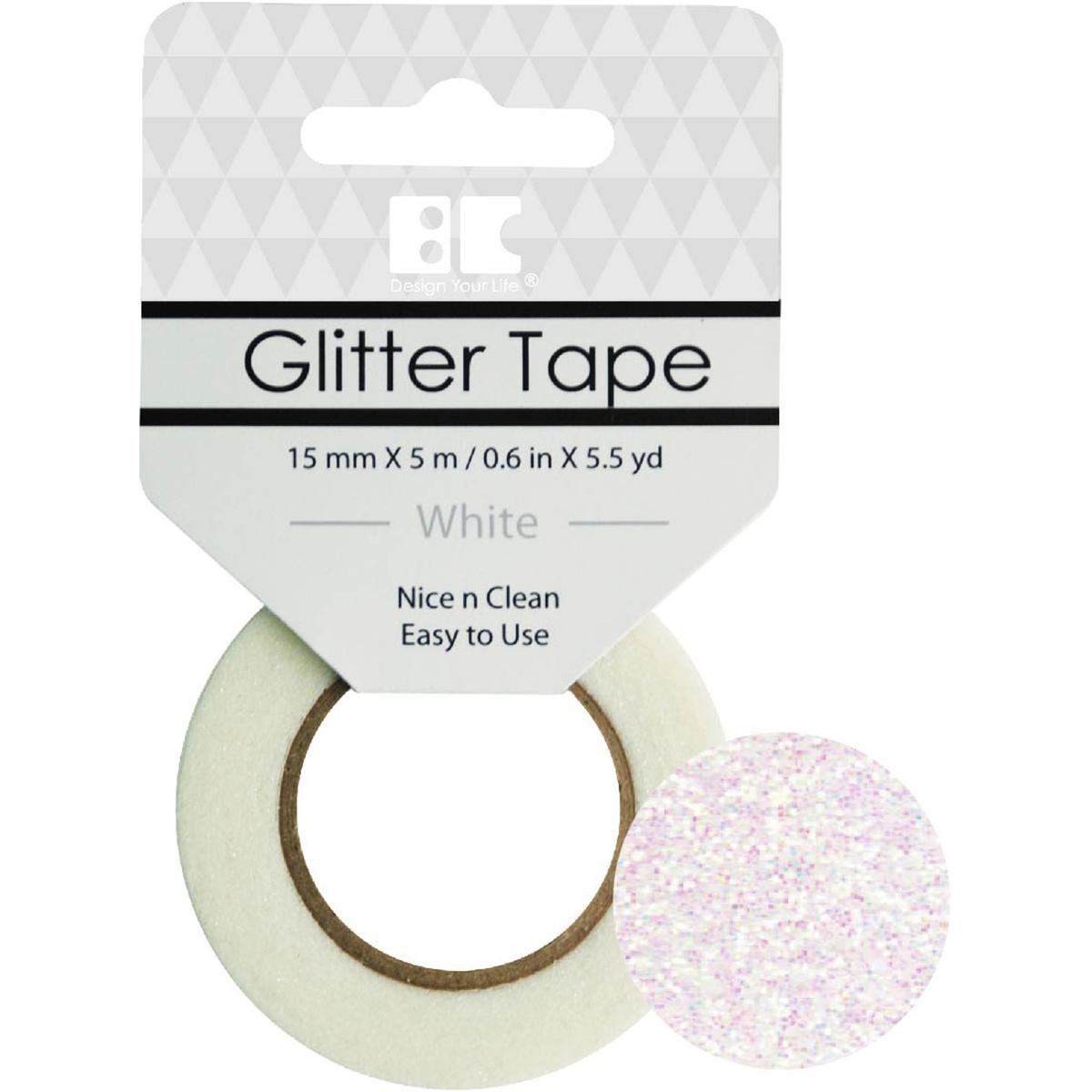 BC - White Glitter Tape, 15mm x 5m