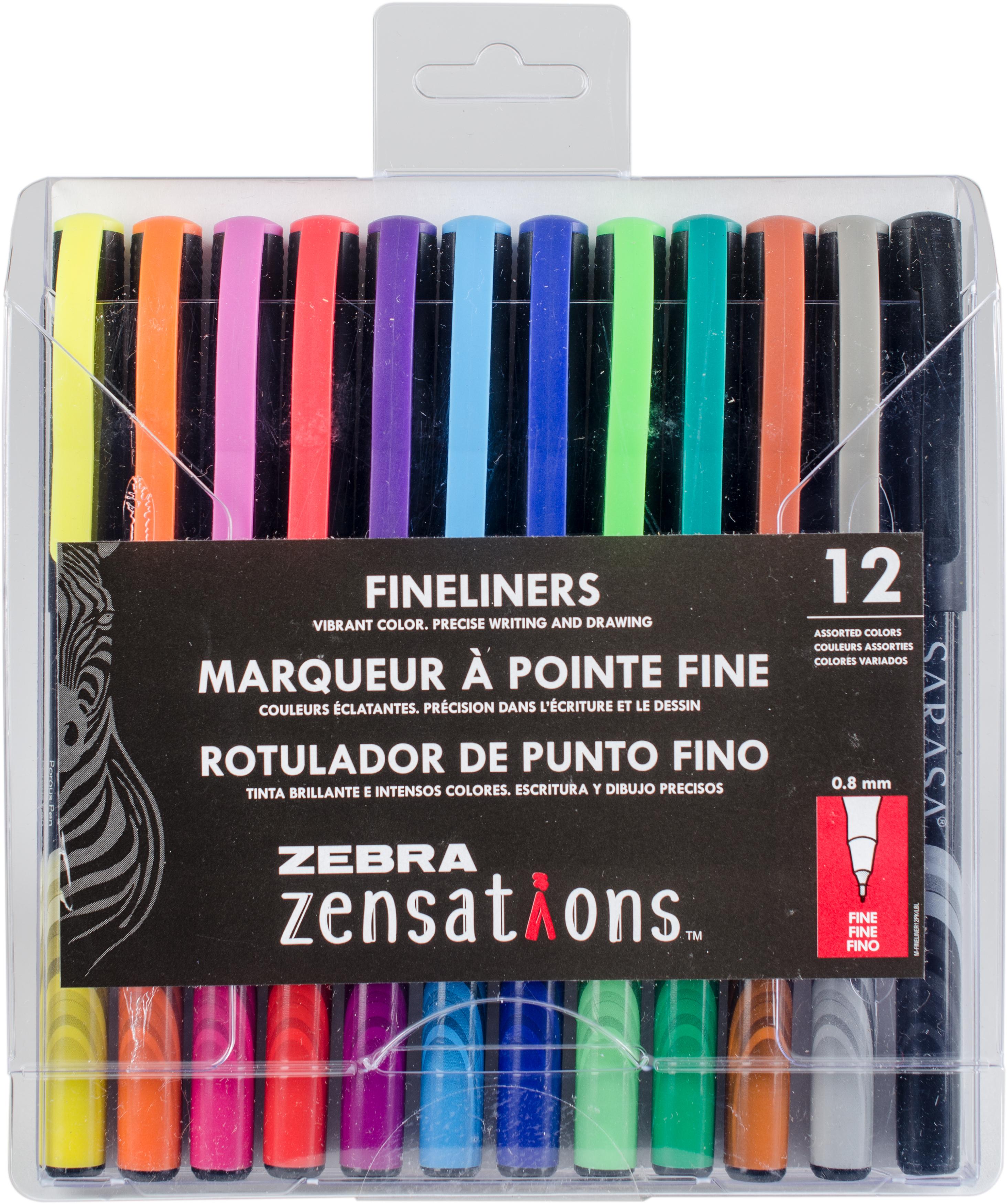 Zebra Zensations Fineliner Pens 12/Pkg 0.8mm-Assorted