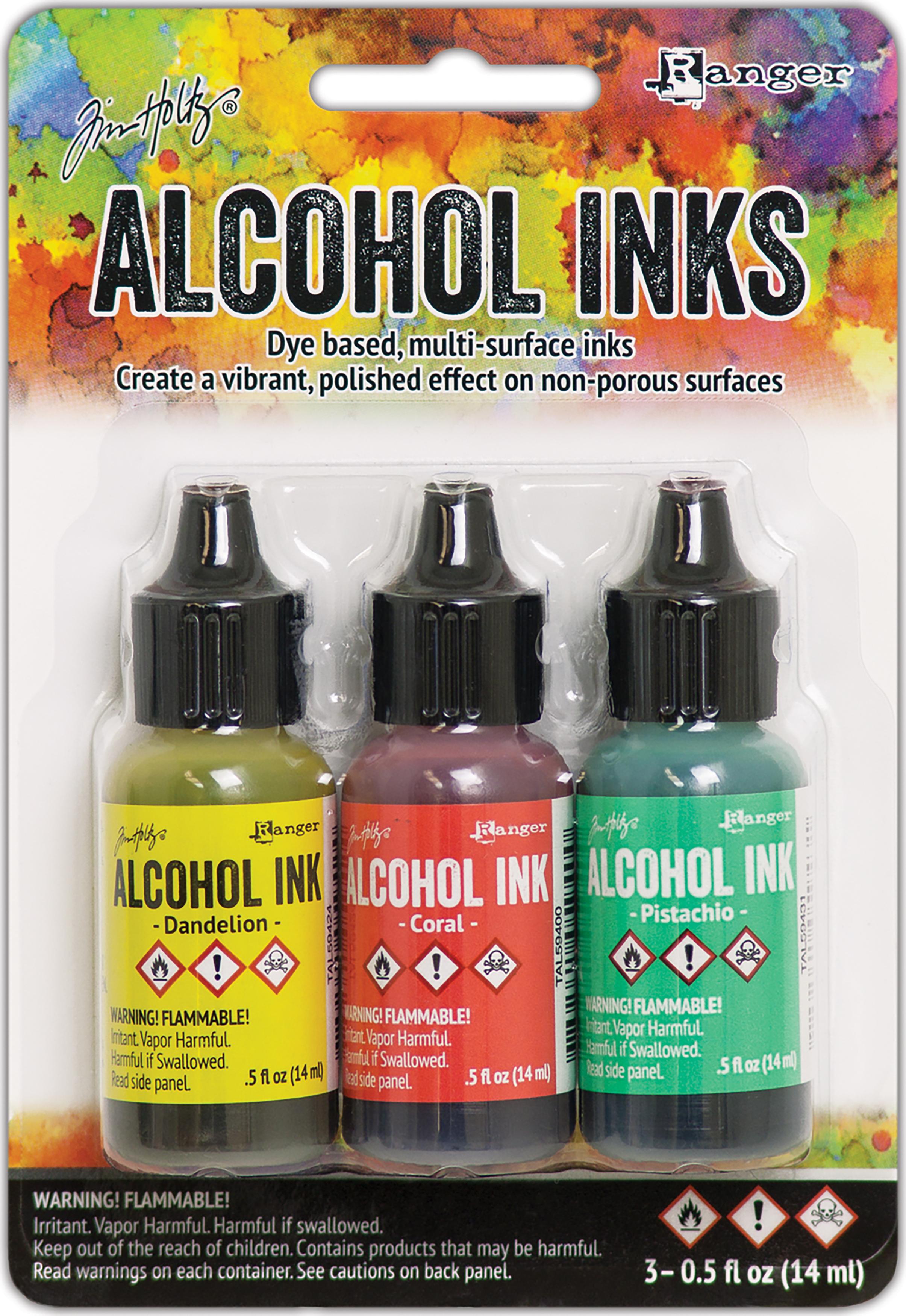 Tim Holtz Alcohol Ink .5oz 3/Pkg-Key West-Dandelion/Coral/Pistachio