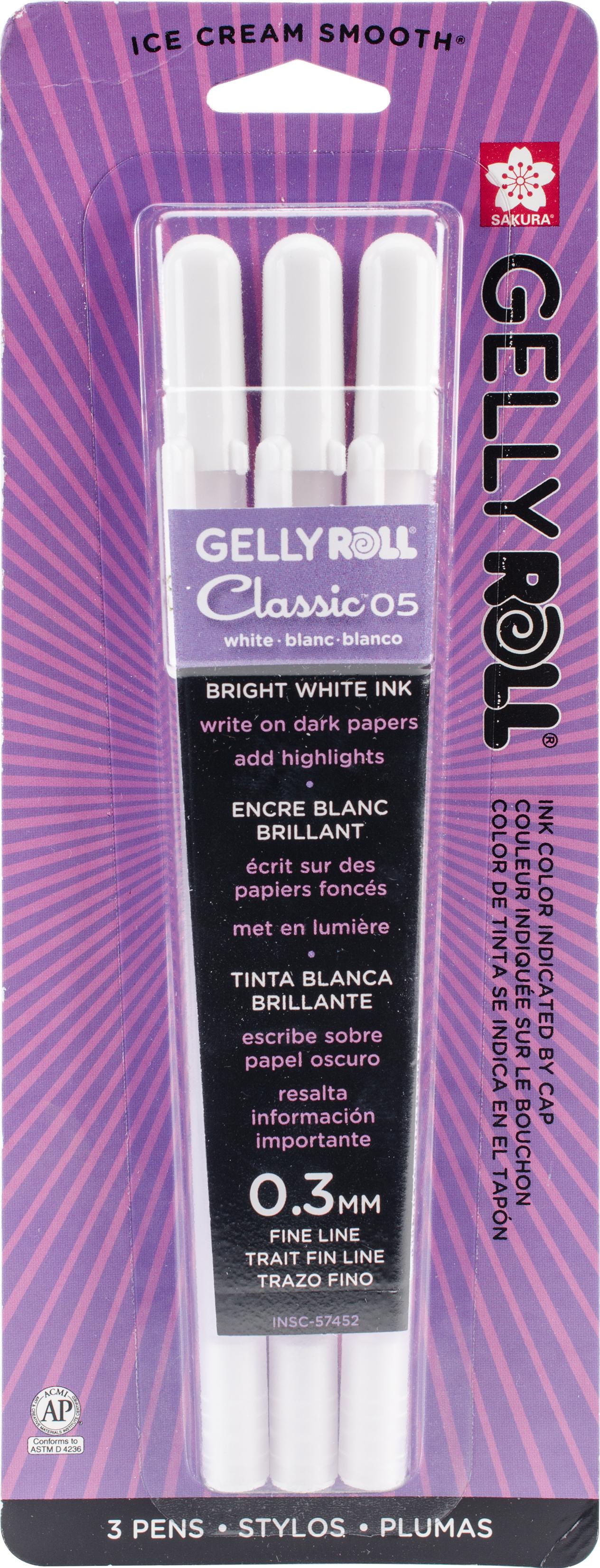 Gelly Roll Classic Fine Tip Pens - White, 3/pkg