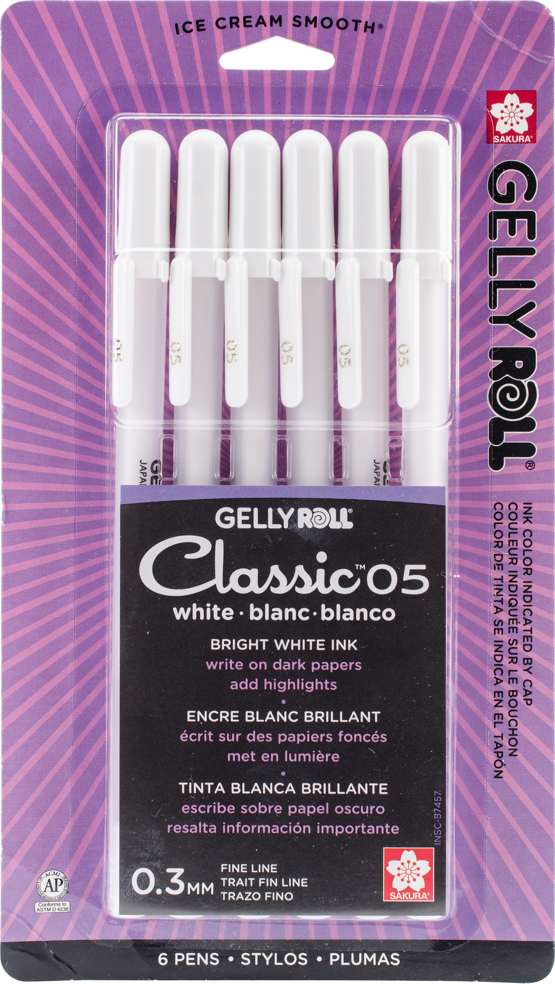 Gelly Roll Classic Fine Point Pens 6/Pkg-White