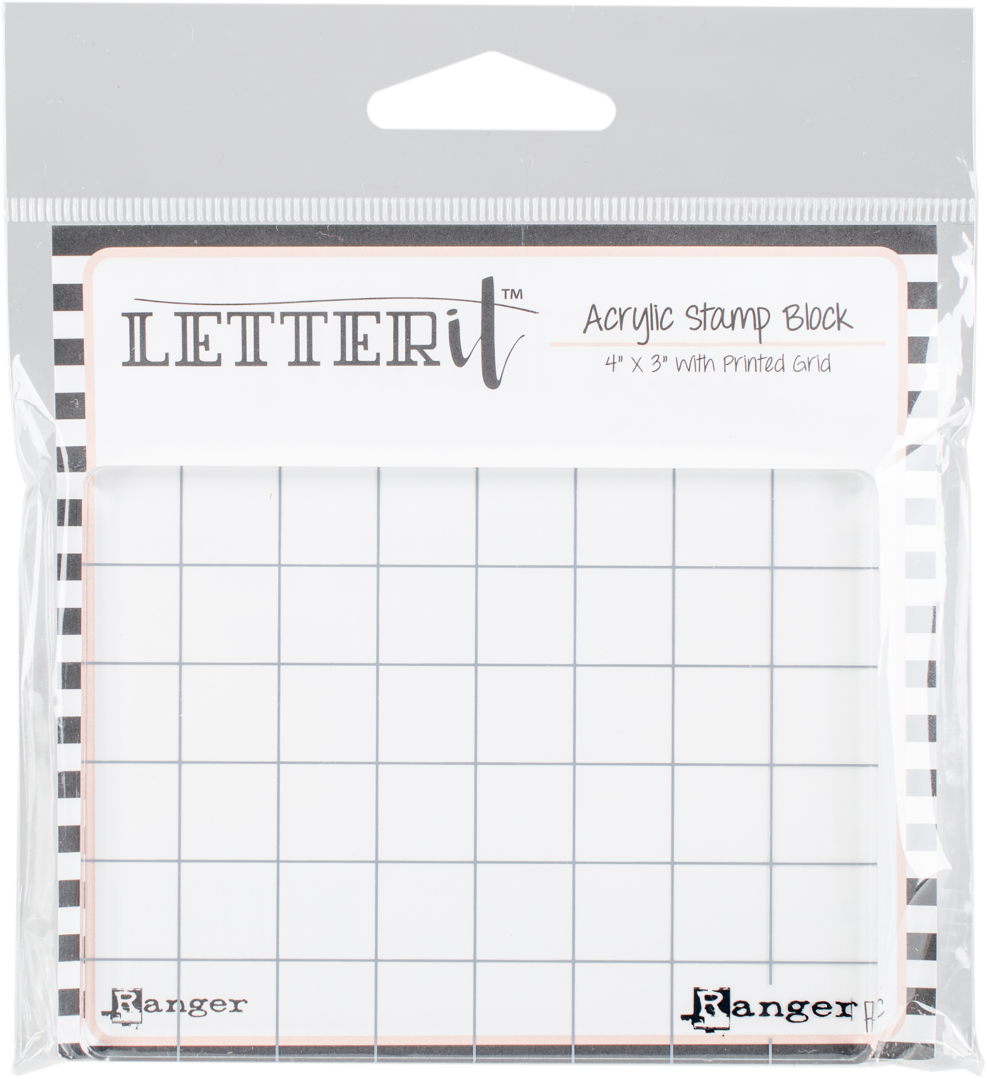Ranger Letter It Acrylic Stamping Block 4X3-