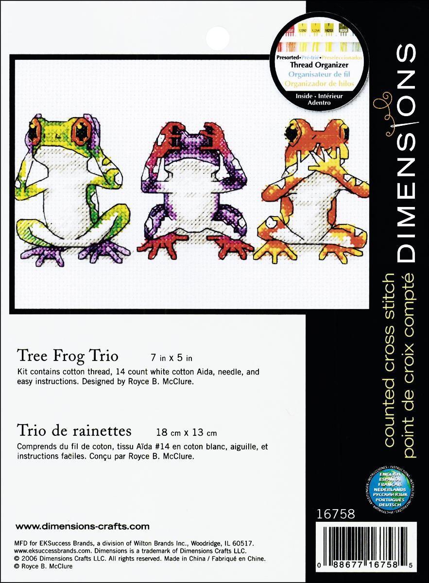 Dimensions/Jiffy Mini Counted Cross Stitch 7X5-Treefrog Trio (14 Count)