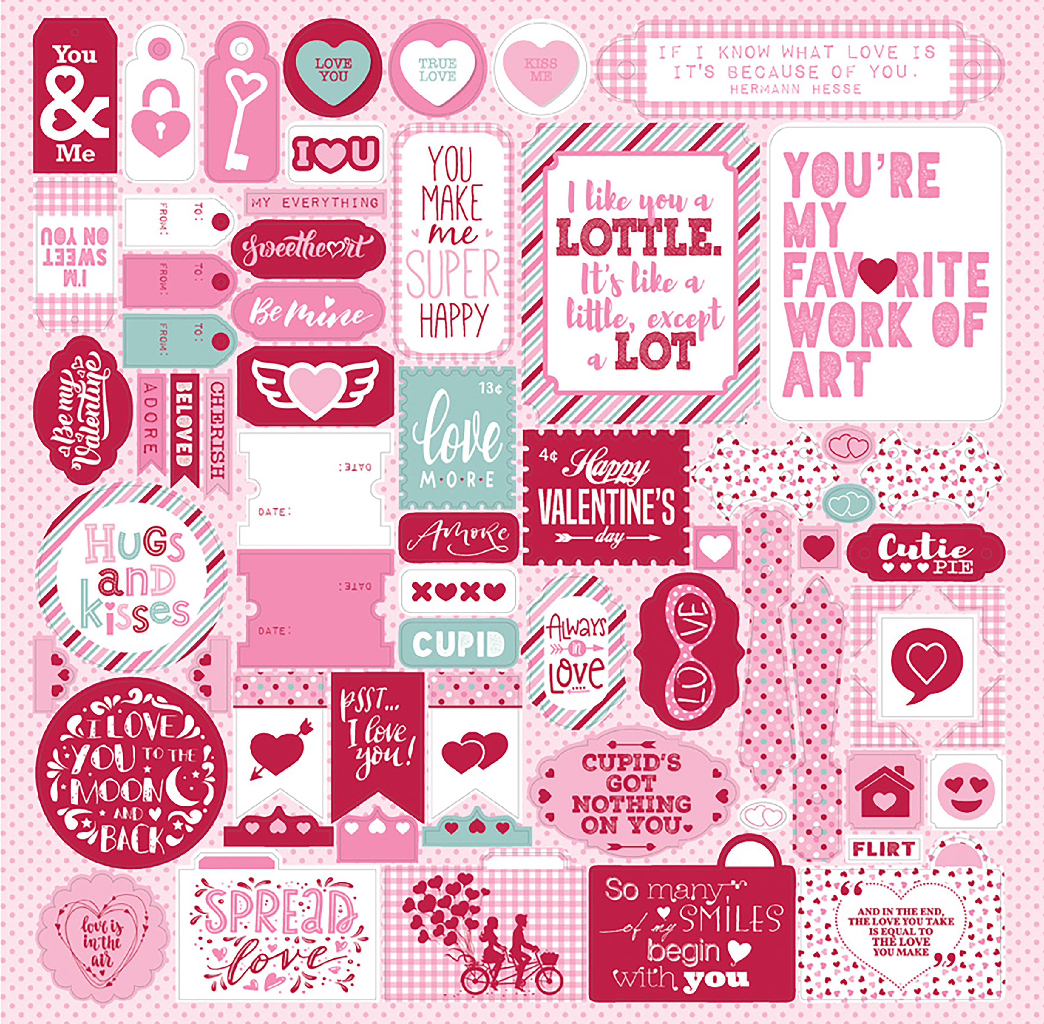 Sweetheart Cardstock Stickers 12X12-Details