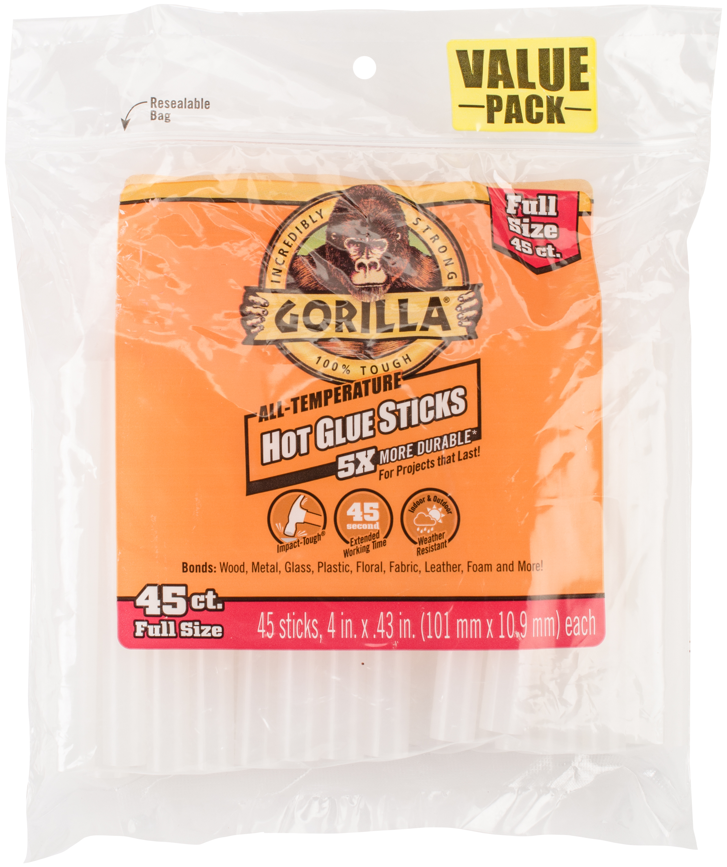 Gorilla Glue High-Temp Hot Glue Sticks- .43X4 45/Pkg