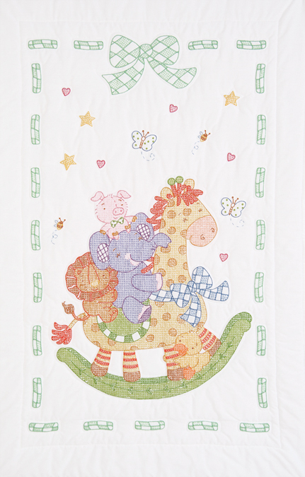 Stamped Embroidery Crib Top - Giraffe & Friends