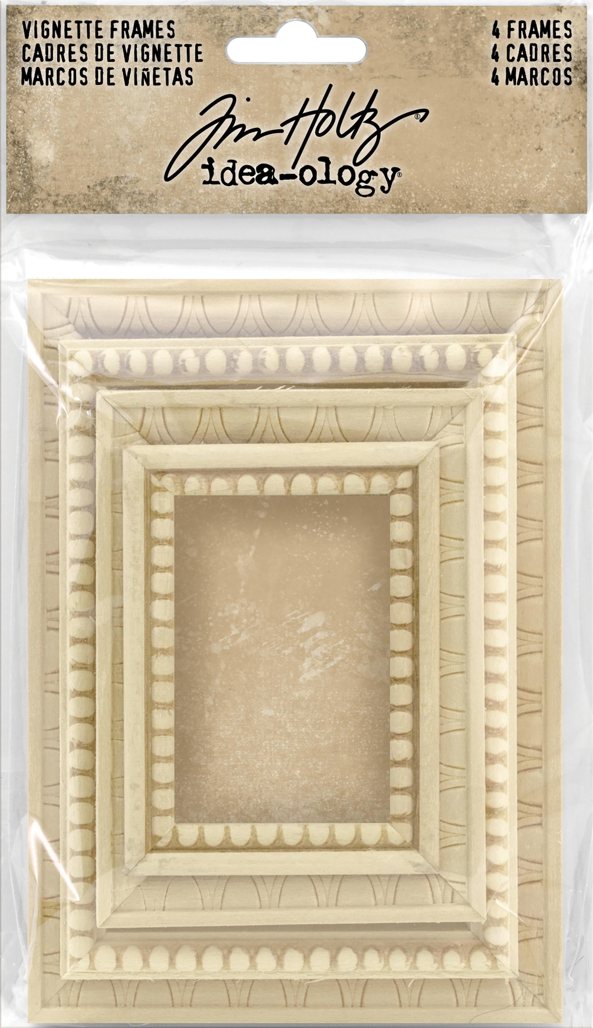 Idea-Ology Wooden Vignette Frames 4/Pkg-Assorted Sizes