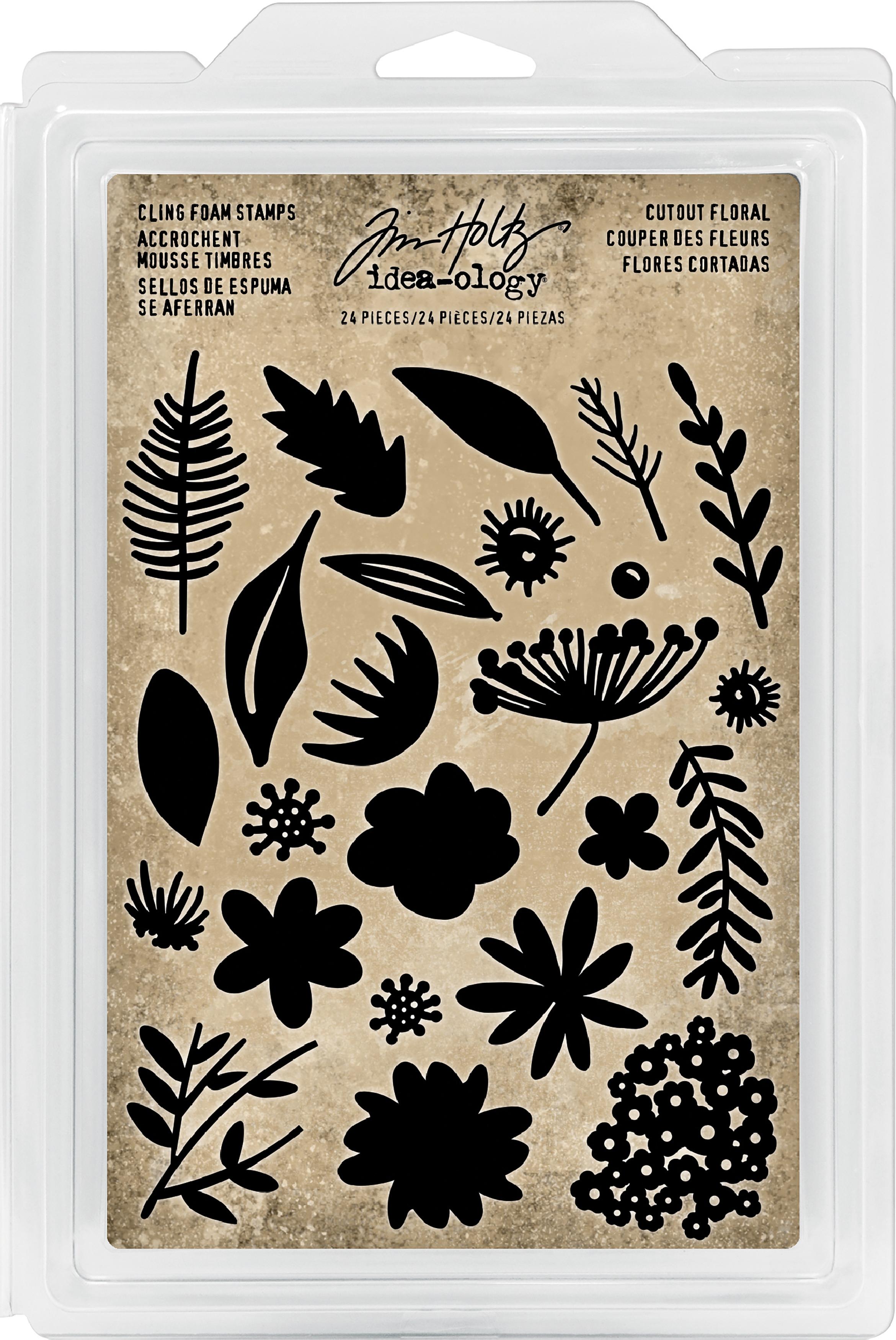Idea-Ology Cling Foam Stamps 24/Pkg-Cutout Floral