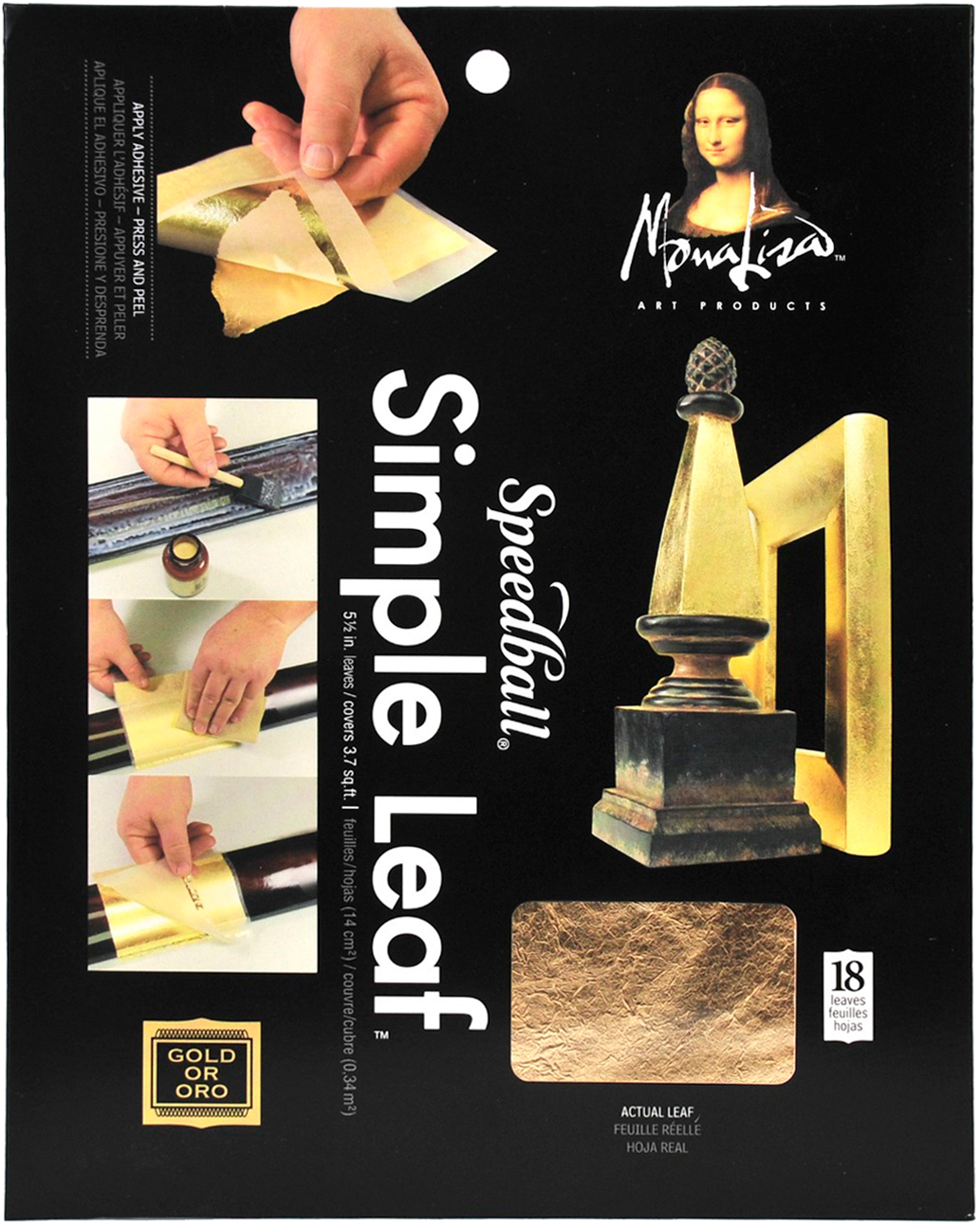 Mona Lisa Simple Leaf Metal Sheets 5.5X5.5 18/Pkg-Gold