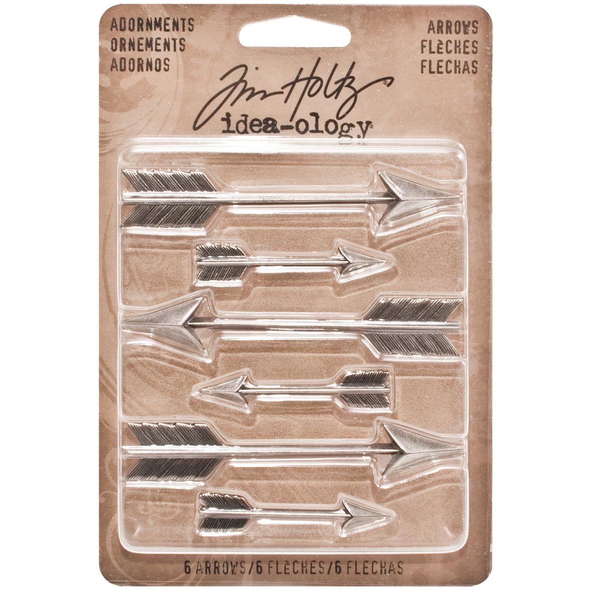 Idea-Ology Metal Adornments 1.5 & 3 6/Pkg-Antique Nickel Arrow