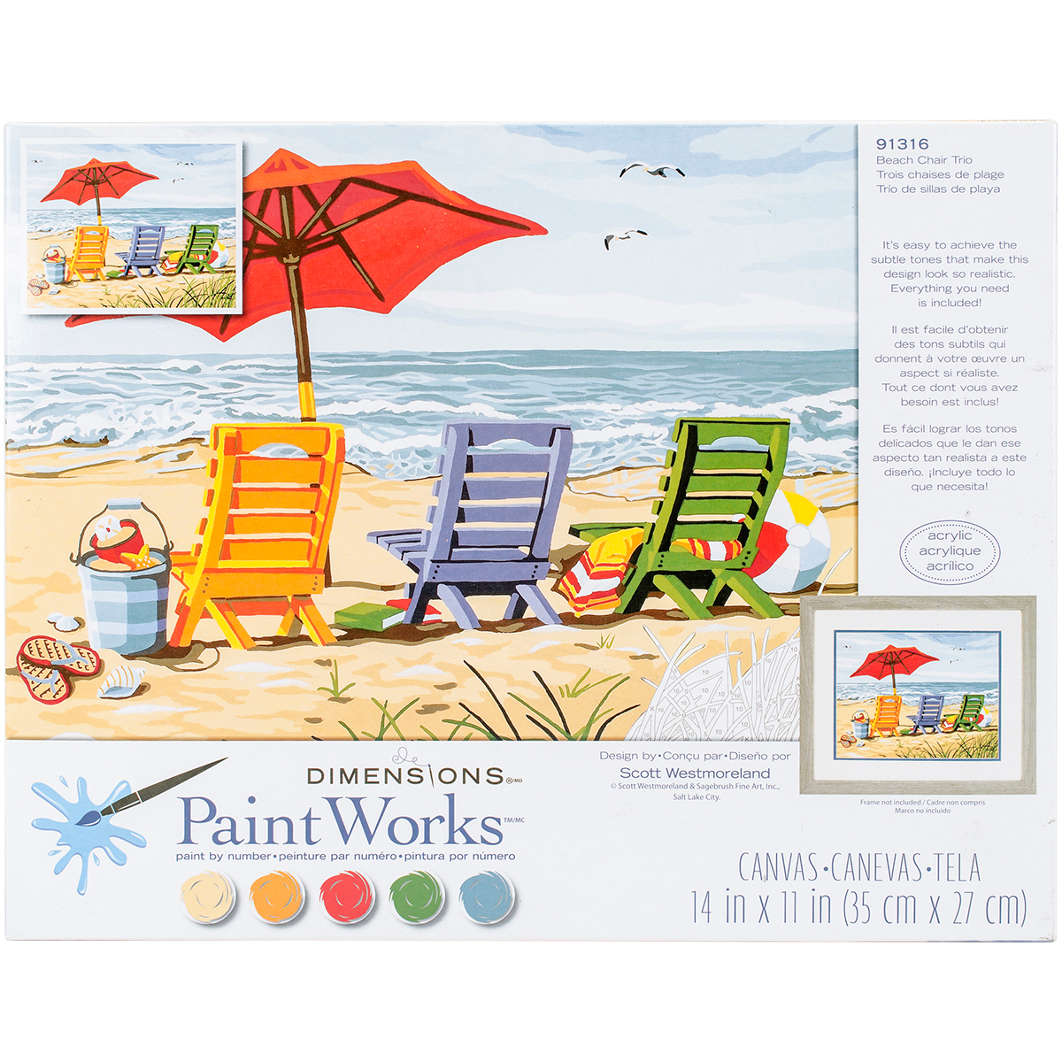 Paint Works Paint By Number Kit 14X11-Beach Chair Trio