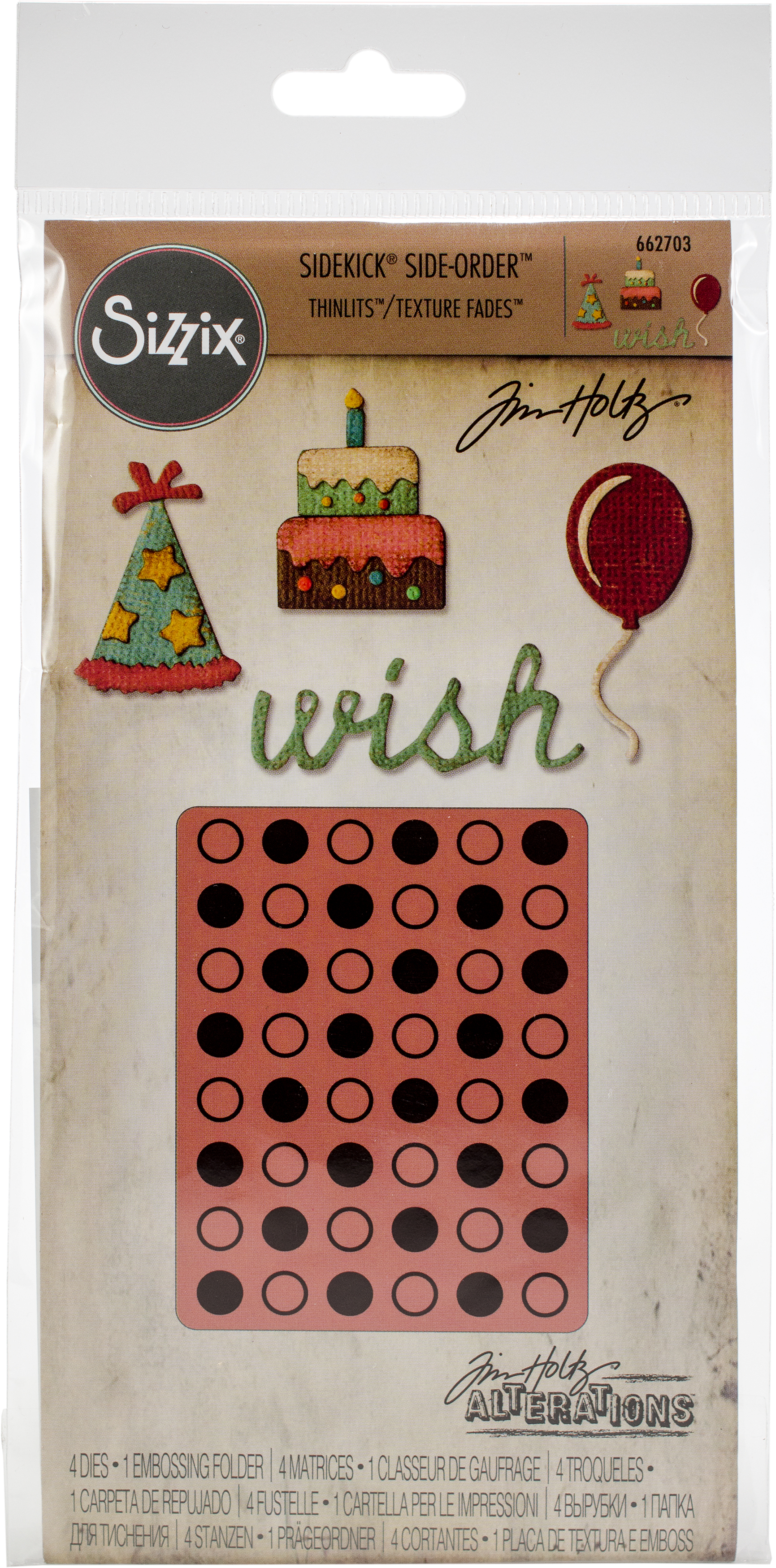 Sizzix Sidekick Side-Order Set By Tim Holtz-Birthday