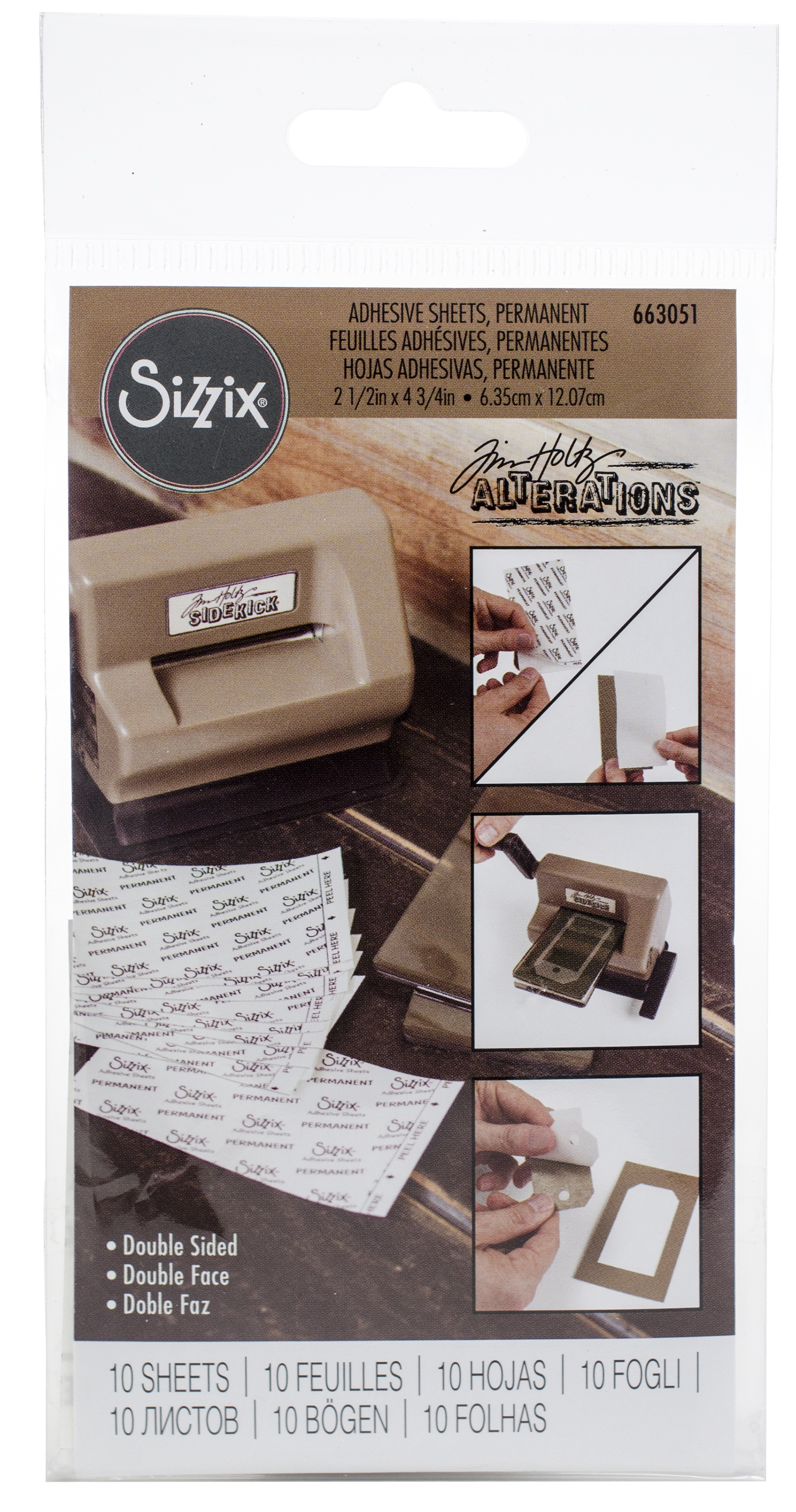 Sizzix Adhesive Sheets 2.5X4.75 10/Pkg-Permanent