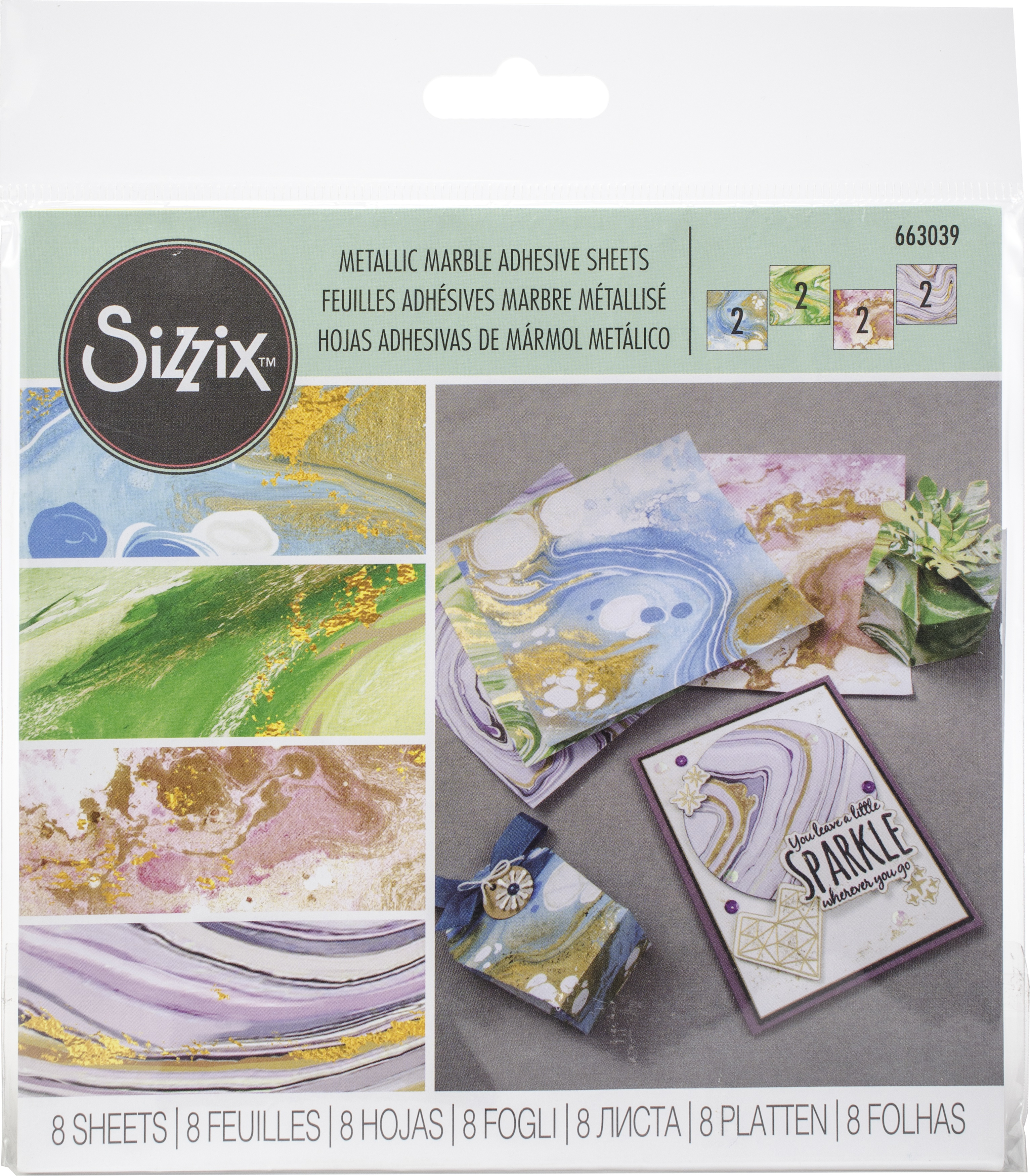 Sizzix Metallic Marble Sheets 6X6 8/Pkg-Assorted Colors