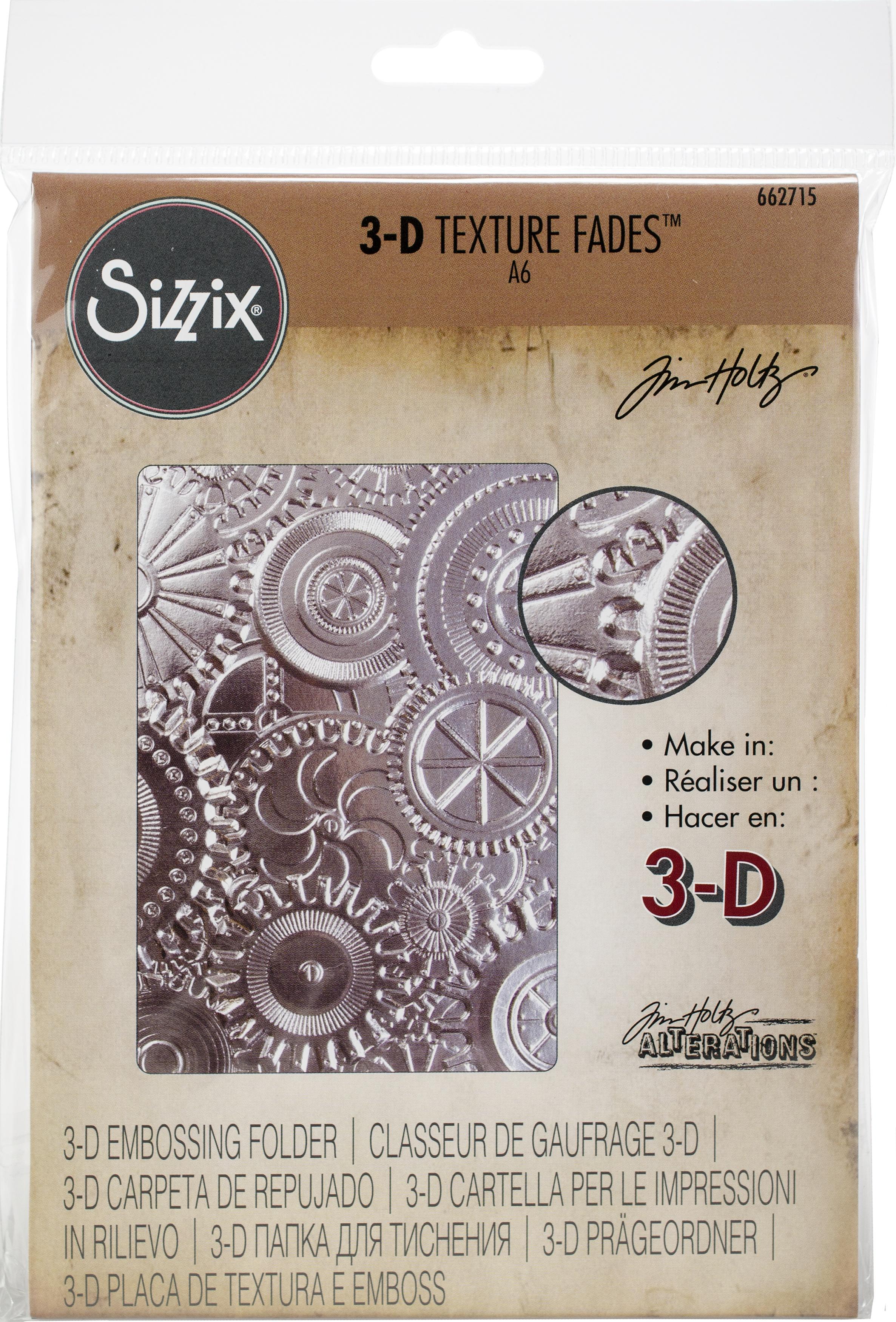 Sizzix 3D Texture Fades Embossing Folder By Tim Holtz-Mechanics