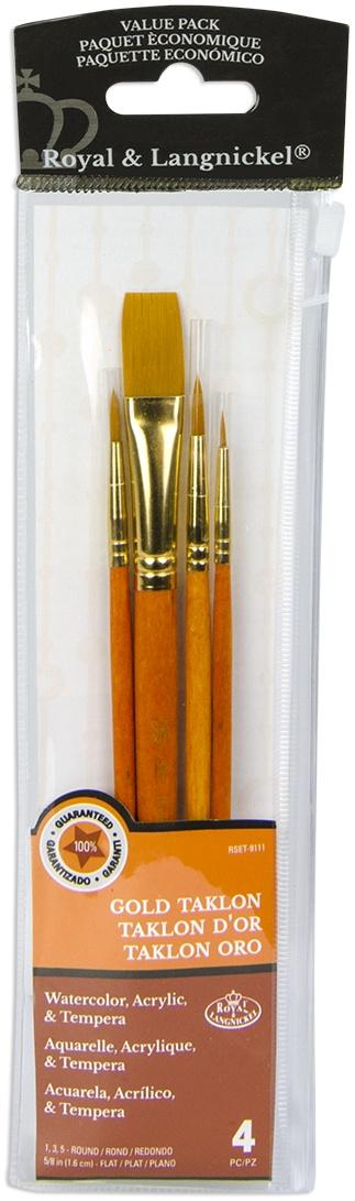Gold Taklon Value Pack Brush Set-4/Pkg