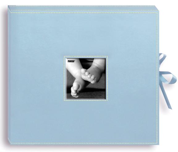 Pioneer 3-Ring Sewn Leatherette Album Box 13X14.5-Baby Blue