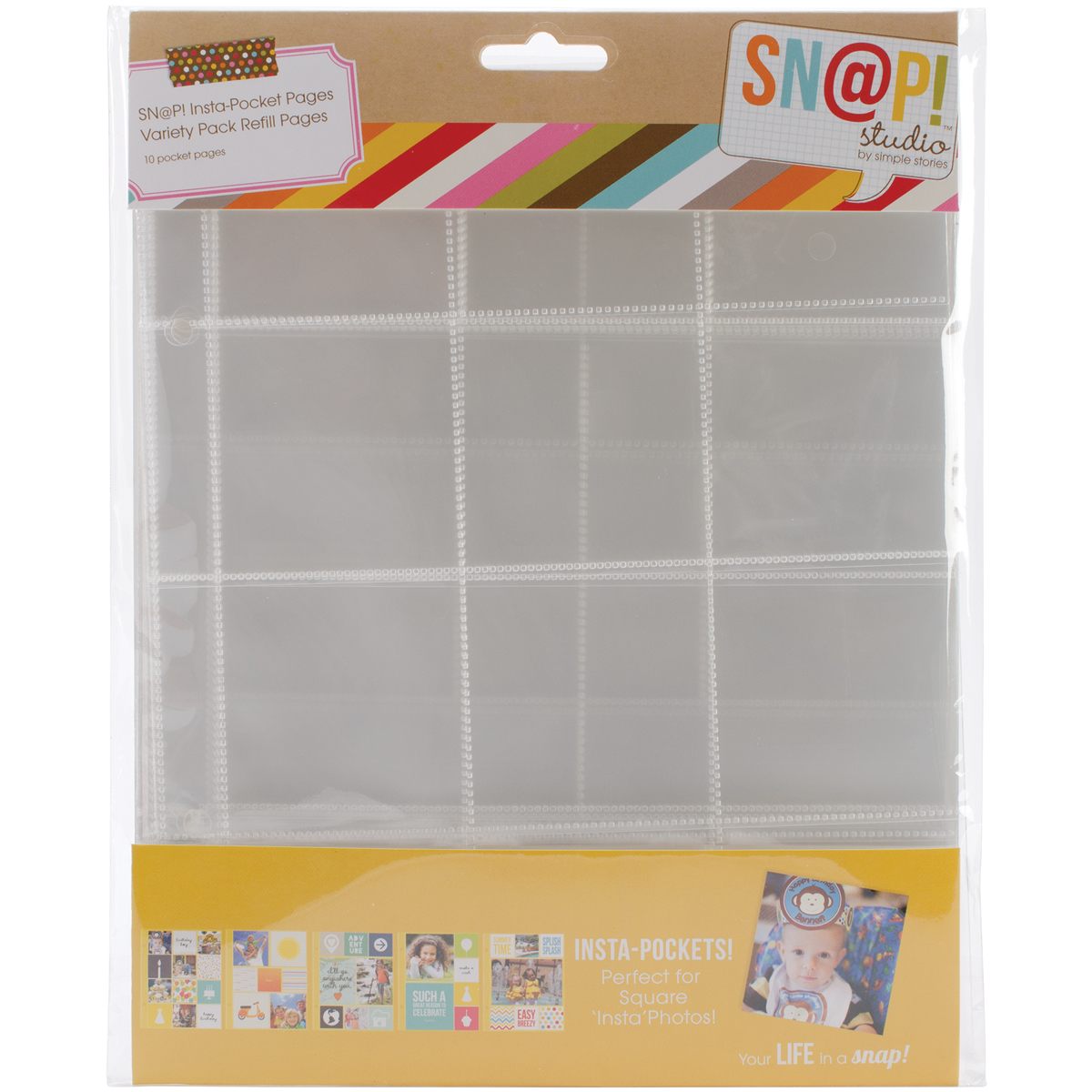 Simple Stories Sn@p! Insta Pocket Pages For 6X8 Binders  -Variety Pack, 10/Pkg