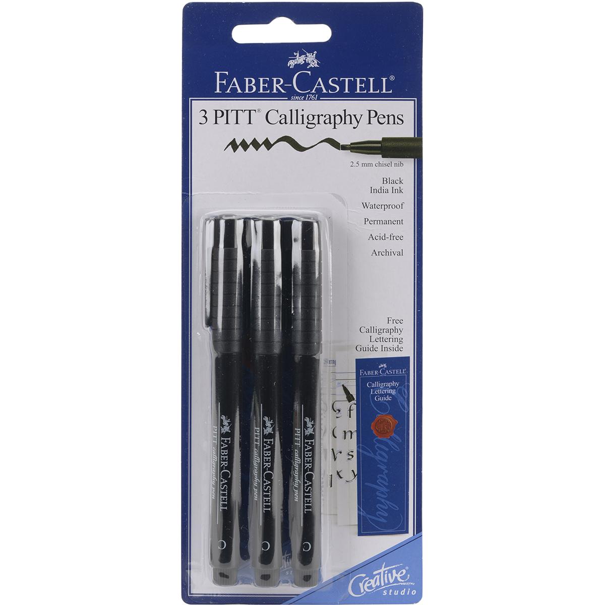 PITT Calligraphy Pens 2.5mm Chisel Tip 3/Pkg-Black