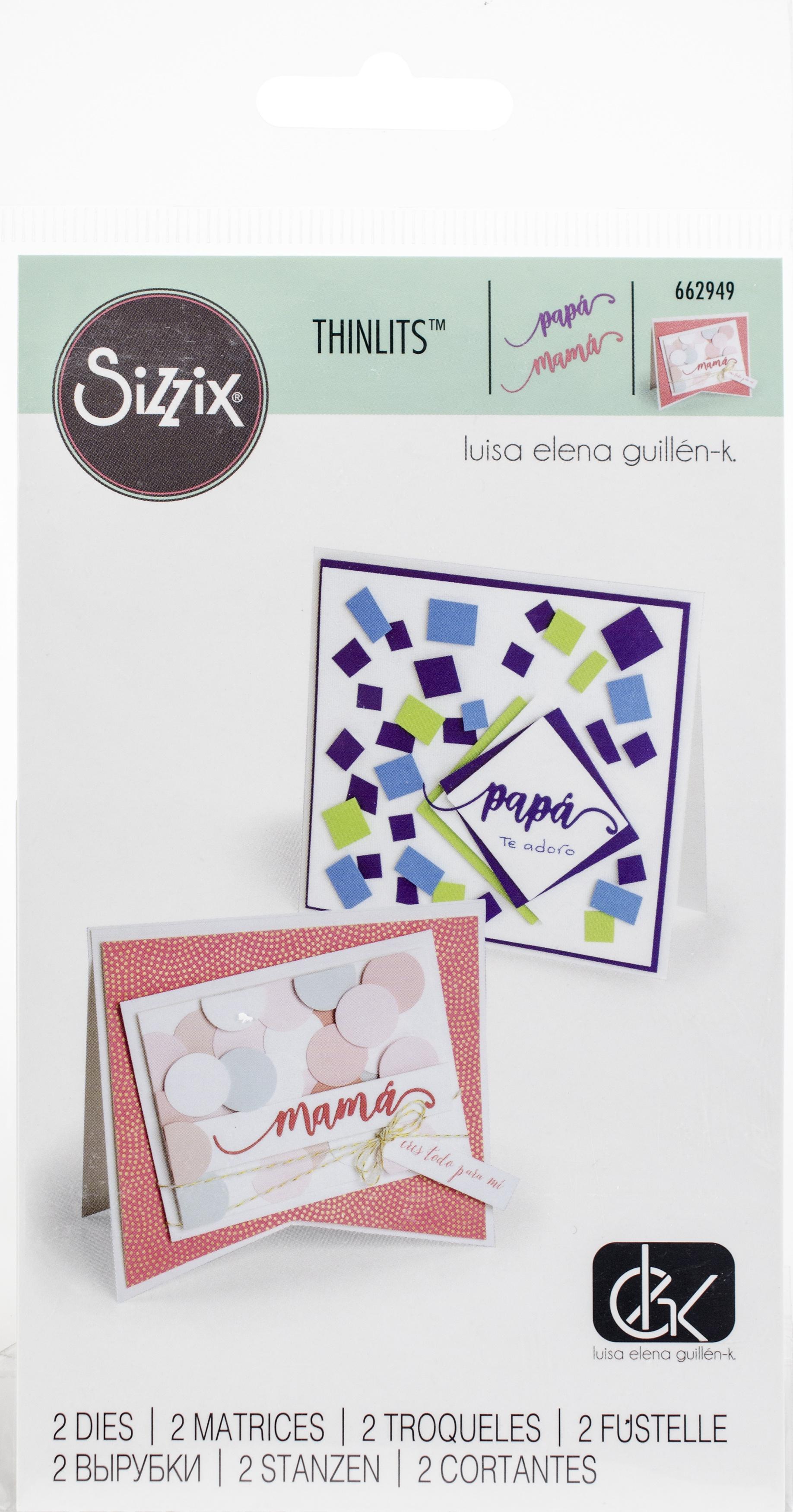 Sizzix Thinlits Dies By Luisa Elena Guillen-Papa y Mama (Dad & Mom)