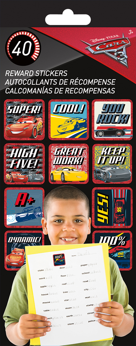 SandyLion Teacher Reward Stickers 4 Sheets/Pkg-Cars 3