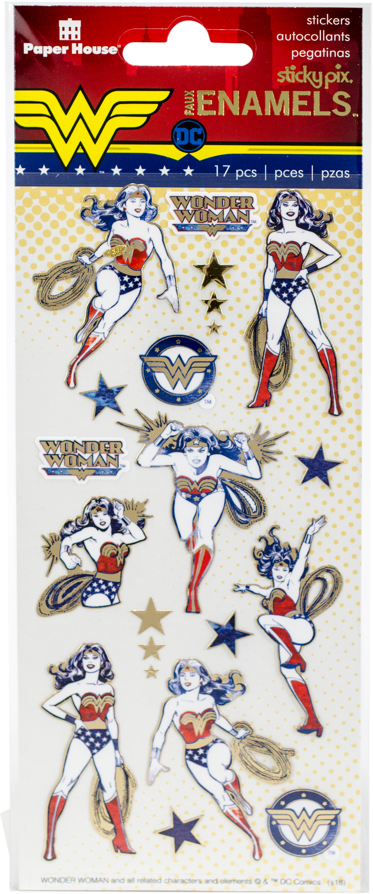 Paper House Sticky Pix Faux Enamel Stickers 8X3-Wonder Woman