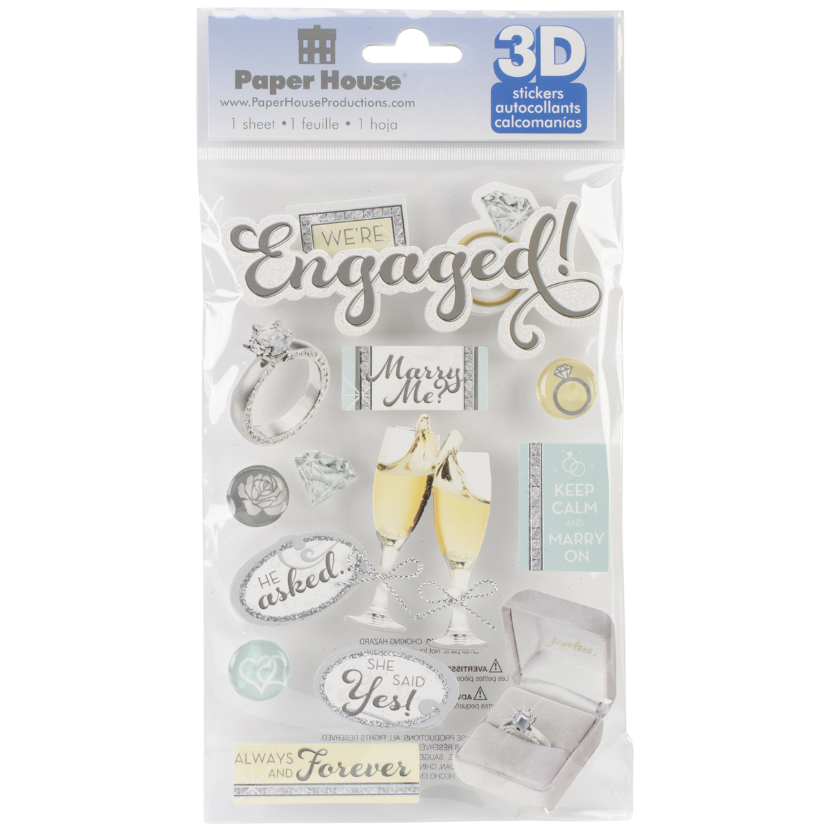 ENGAGED   -3D STICKERS