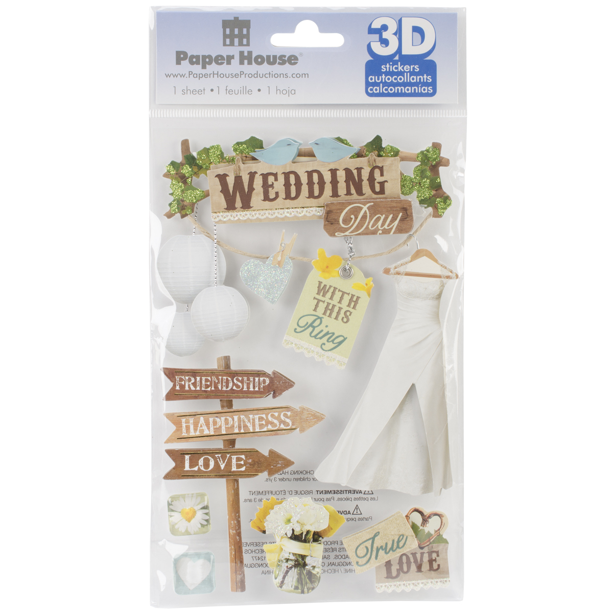 Paper House 3D Stickers 4.5X7.5 -Wedding
