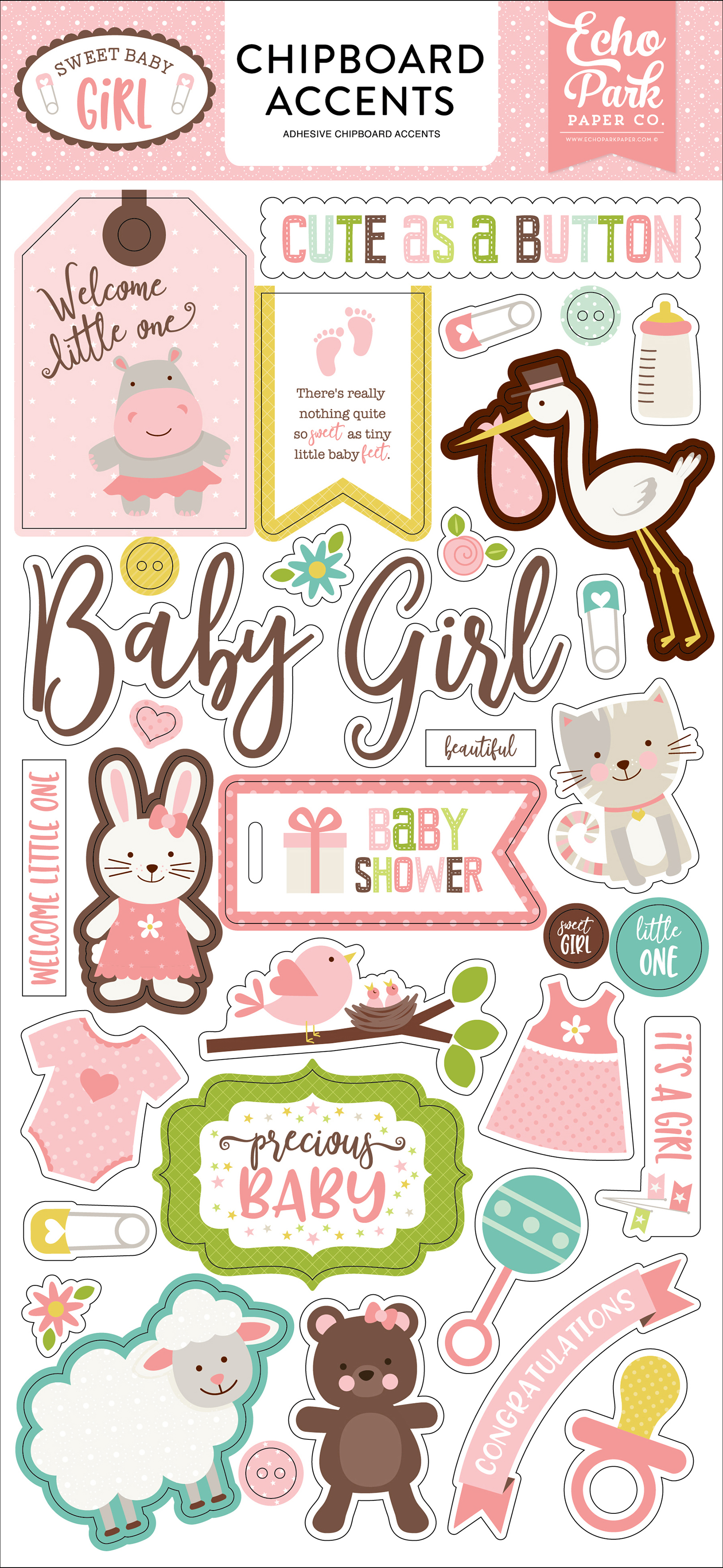 Echo Park Sweet Baby Girl Chipboard Accents