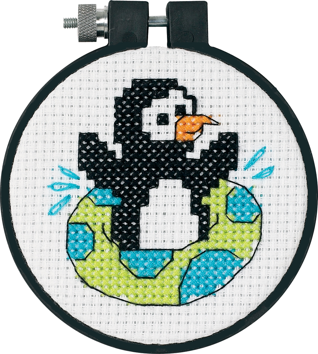 Dimensions/Learn-A-Craft Counted Cross Stitch Kit 3 Round-Playful Penguin (11 C...