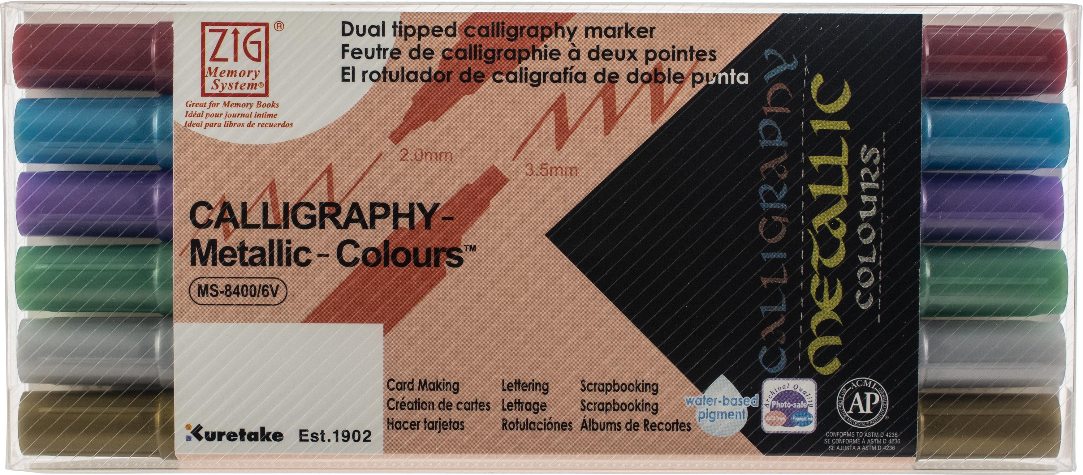ZIG Memory System Calligraphy Dual-Tip Markers 6/Pkg-Metallic