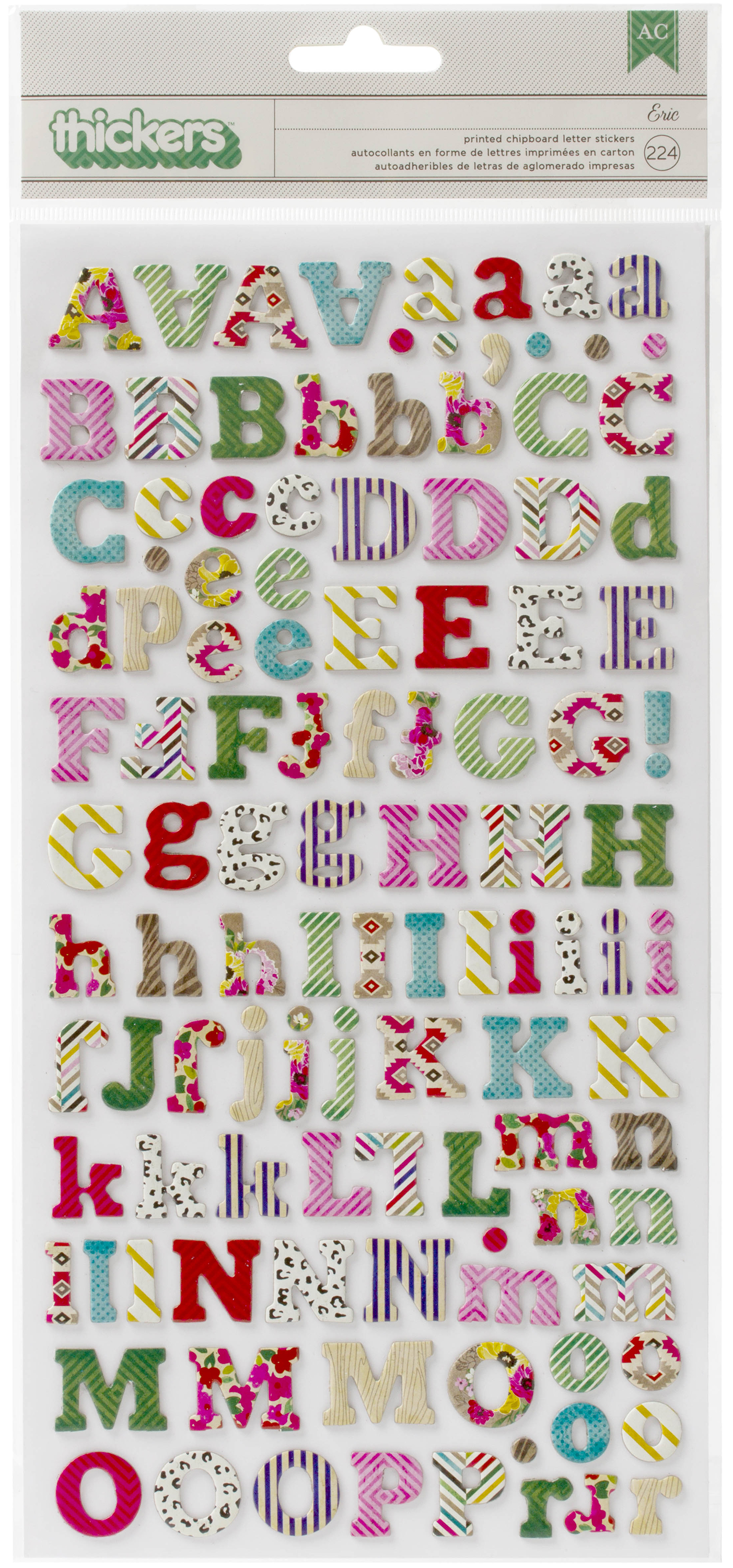 On Trend Thickers Alphabet Stickers 5.5X11 224/Pkg-Eric/Multi Print Chipboard