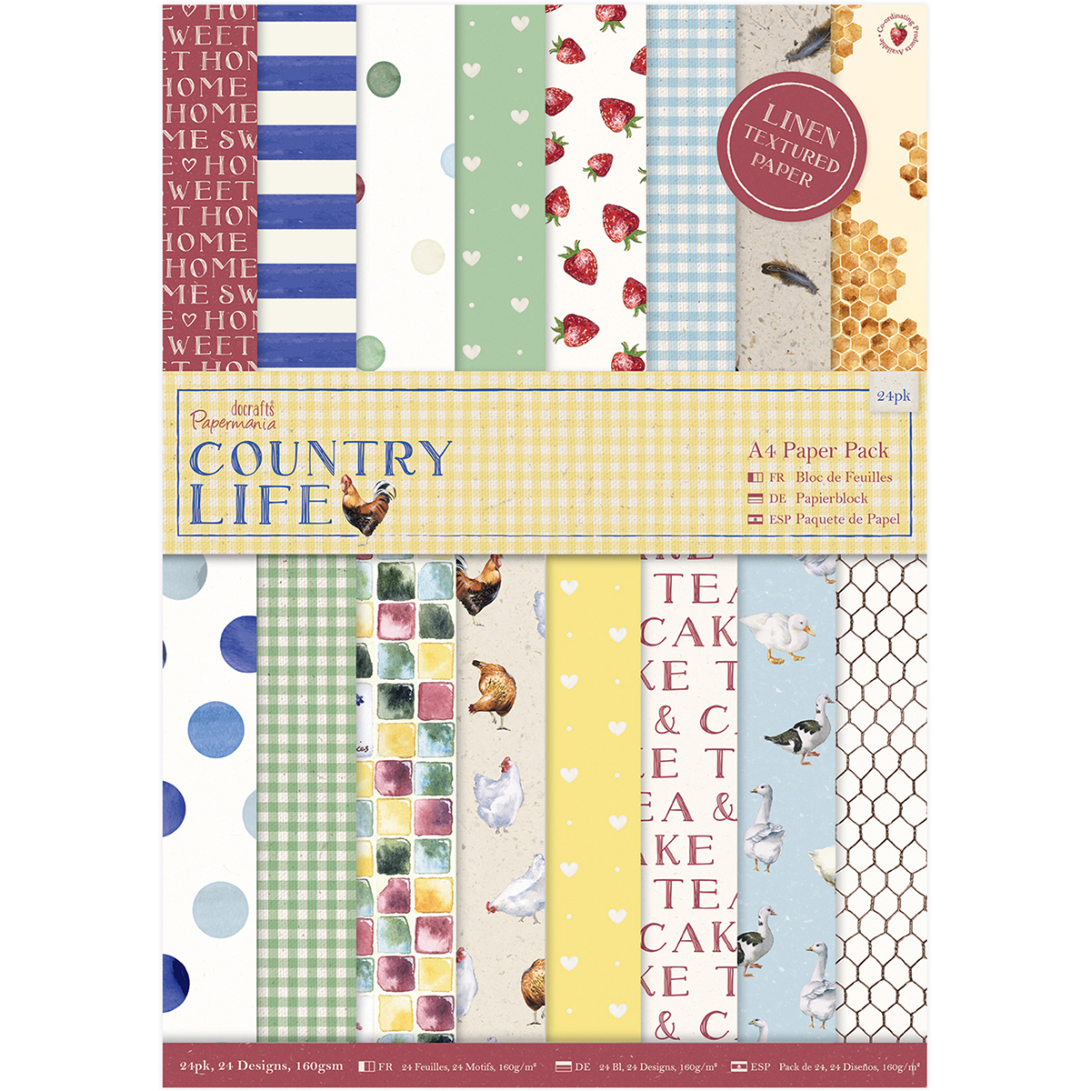 Papermania A4 Single-Sided Paper Pack 24/Pkg-Country Life, 24 Designs/1 Each