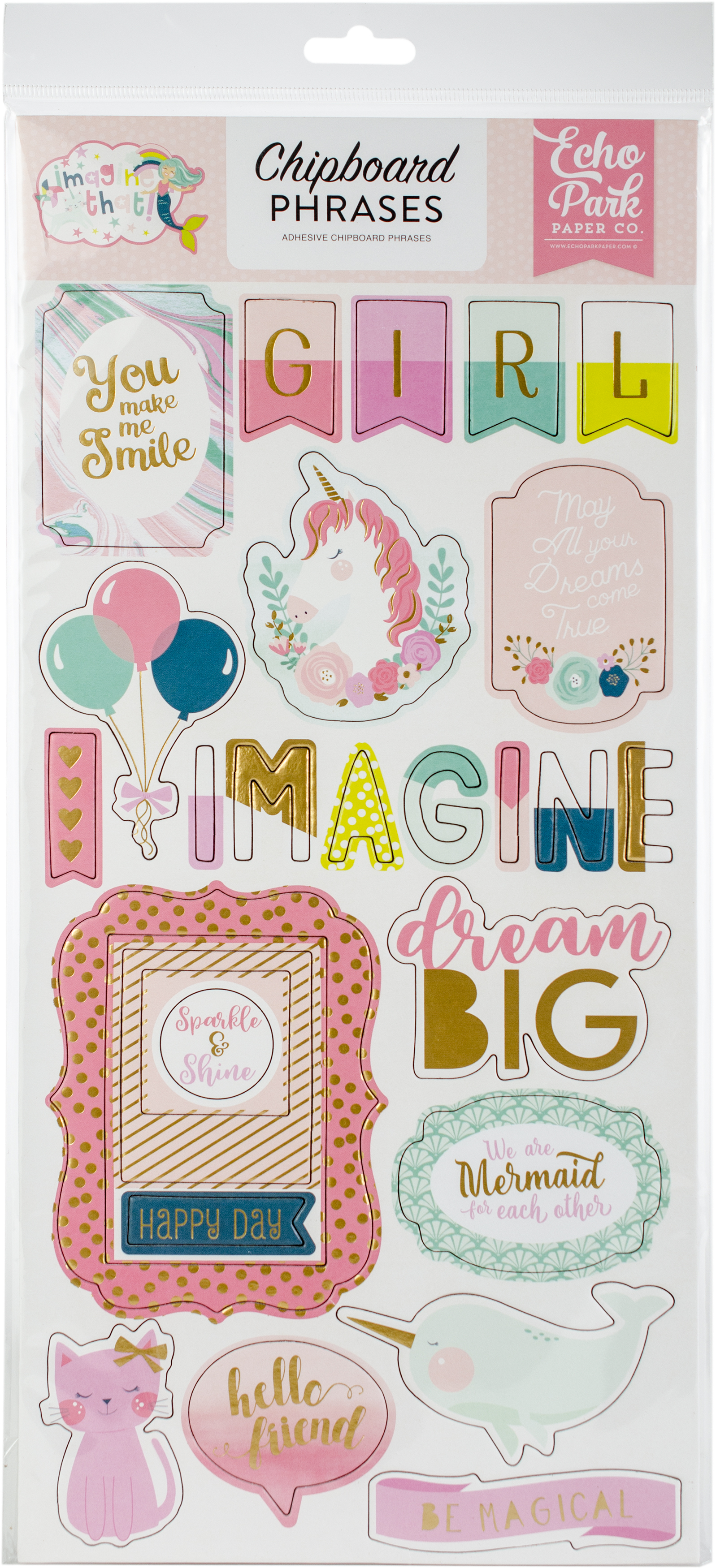 Echo Park Chipboard Phrases 6X13-Imagine That, Girl