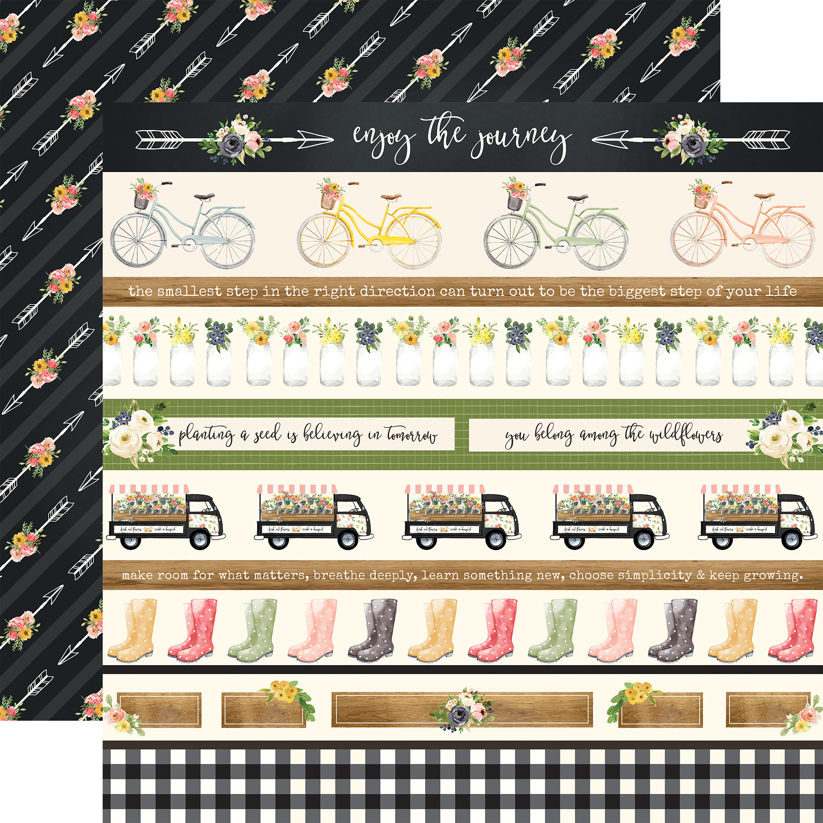Spring Market Double-Sided Cardstock 12X12-Border Strips