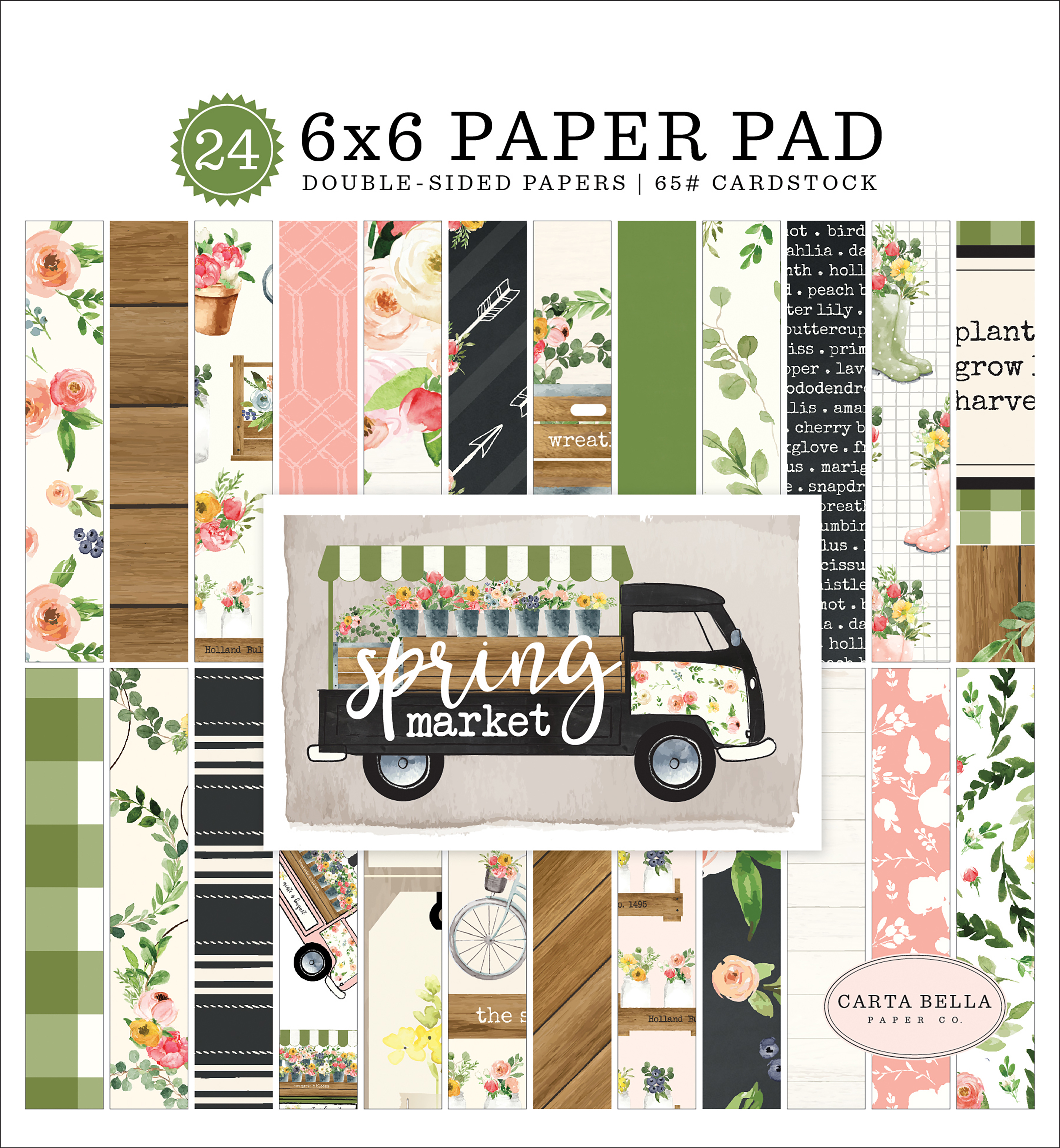 Carta Bella Double-Sided Paper Pad 6X6 24/Pkg-Spring Market, 12 Designs/2 Each
