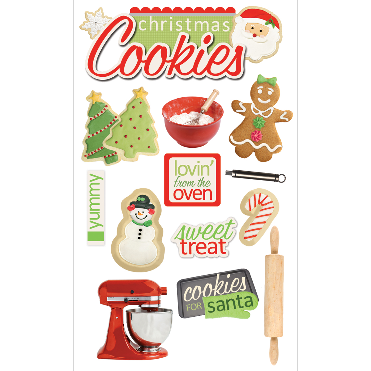Paper House 3D Stickers 4.5X7.5 -Christmas Cookies