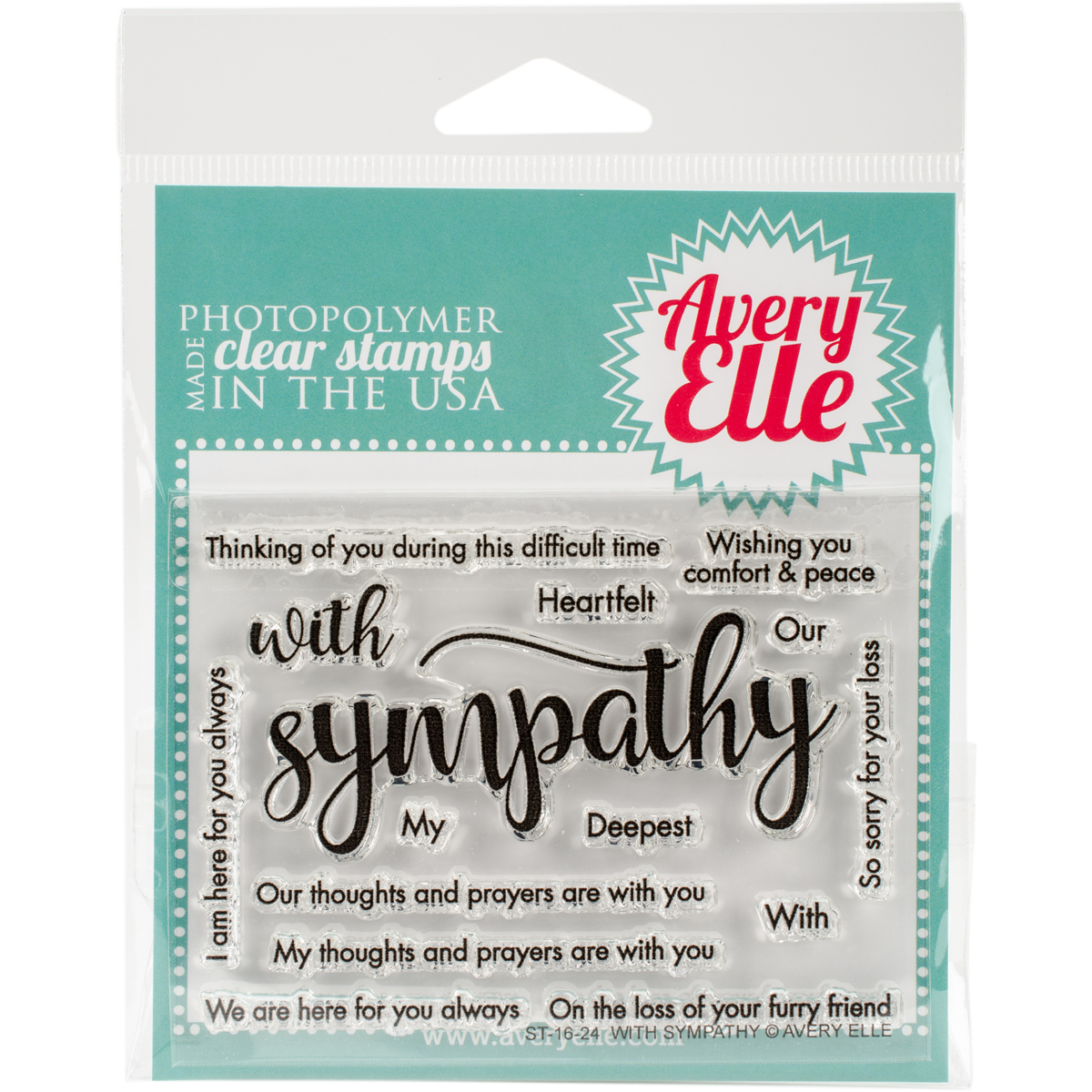 Avery Elle Clear Stamp Set - With Sympathy
