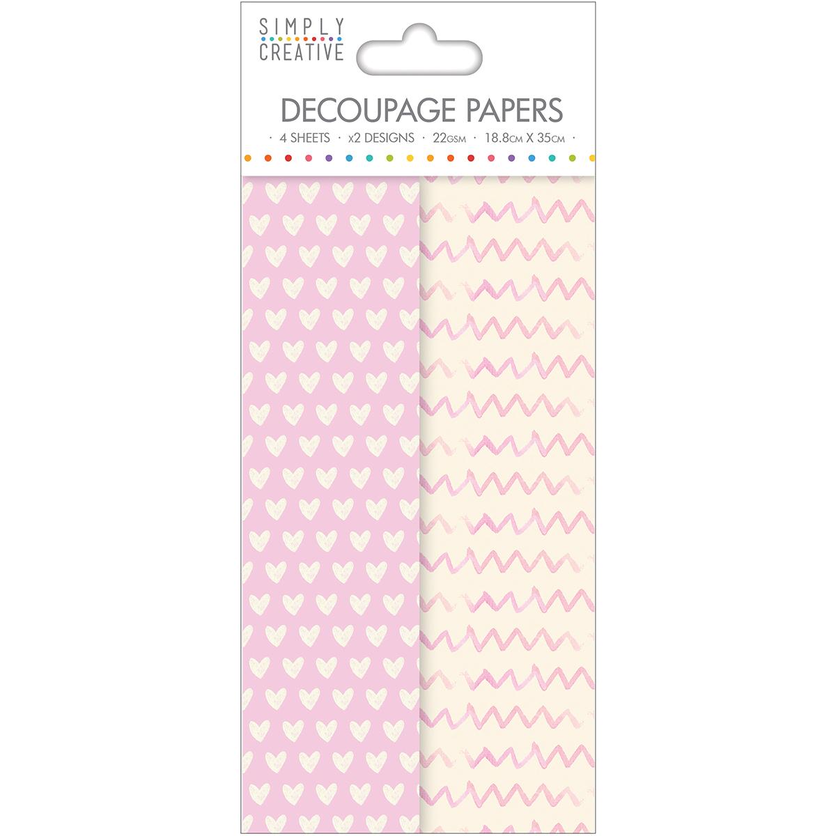 Simply Creative Decoupage Paper 18.8cmX35cm 4/Pkg-Soft Hearts